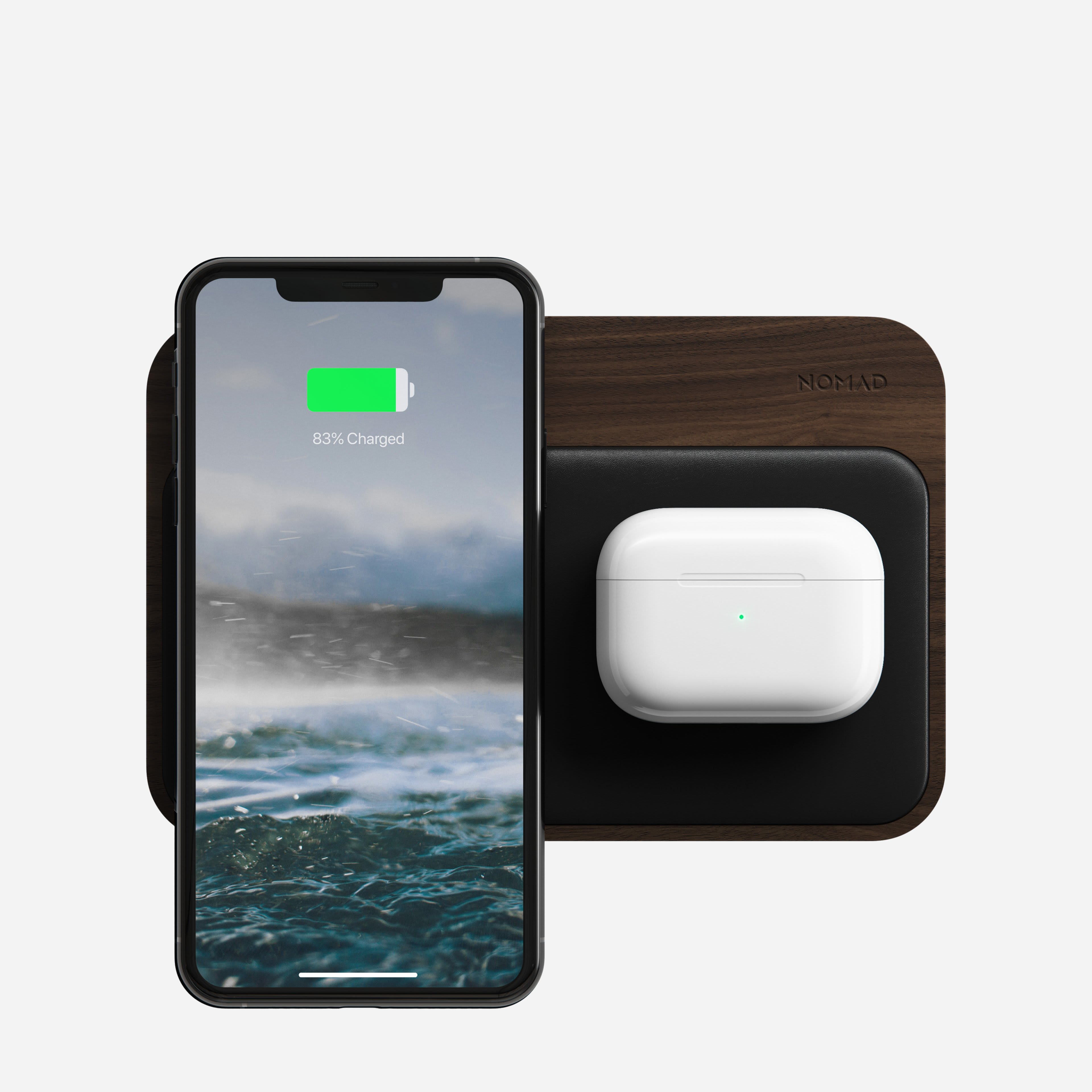 Base Station Hub Walnut with iPhone and AirPods charging