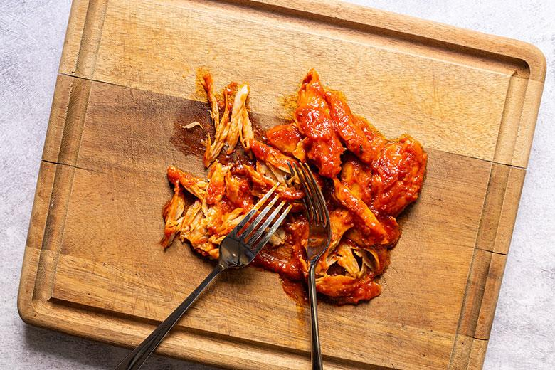 shredded daring chicken pieces