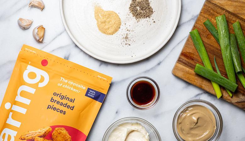 Spread of ingredients to make vegan chicken wings
