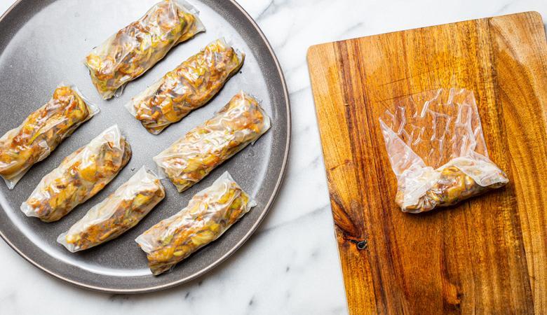 vegan spring rolls being assembled