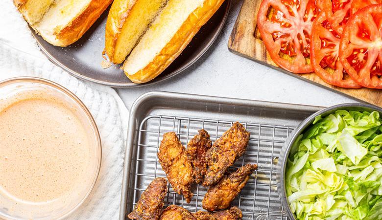 ingredients for plant based chicken po boy sandwich