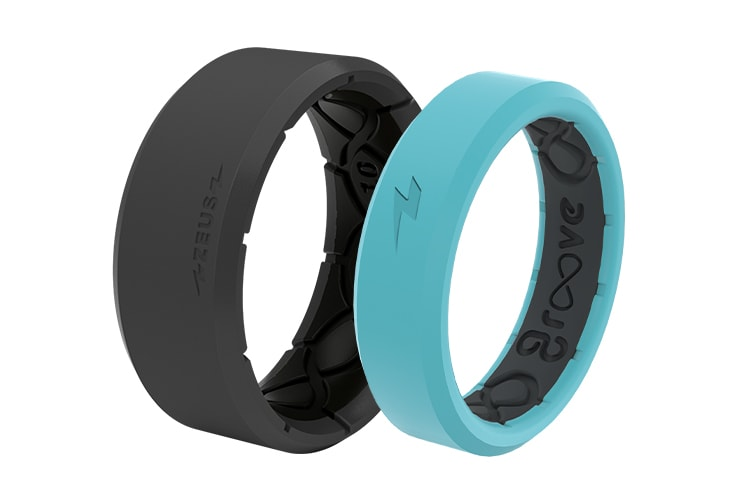 Gray zeus and turquoise thin zeus rings
