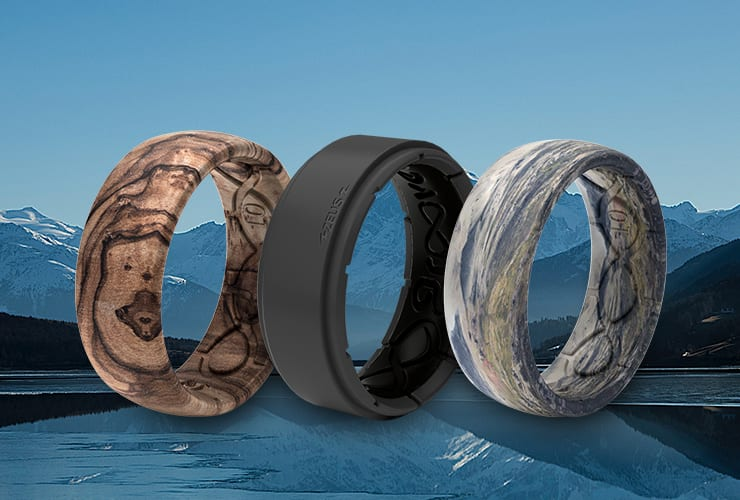Burled Walnut, Black Zeus, and Onward rings lined up