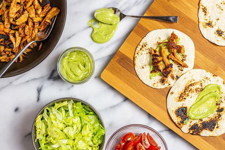 spread of vegan taco ingredients