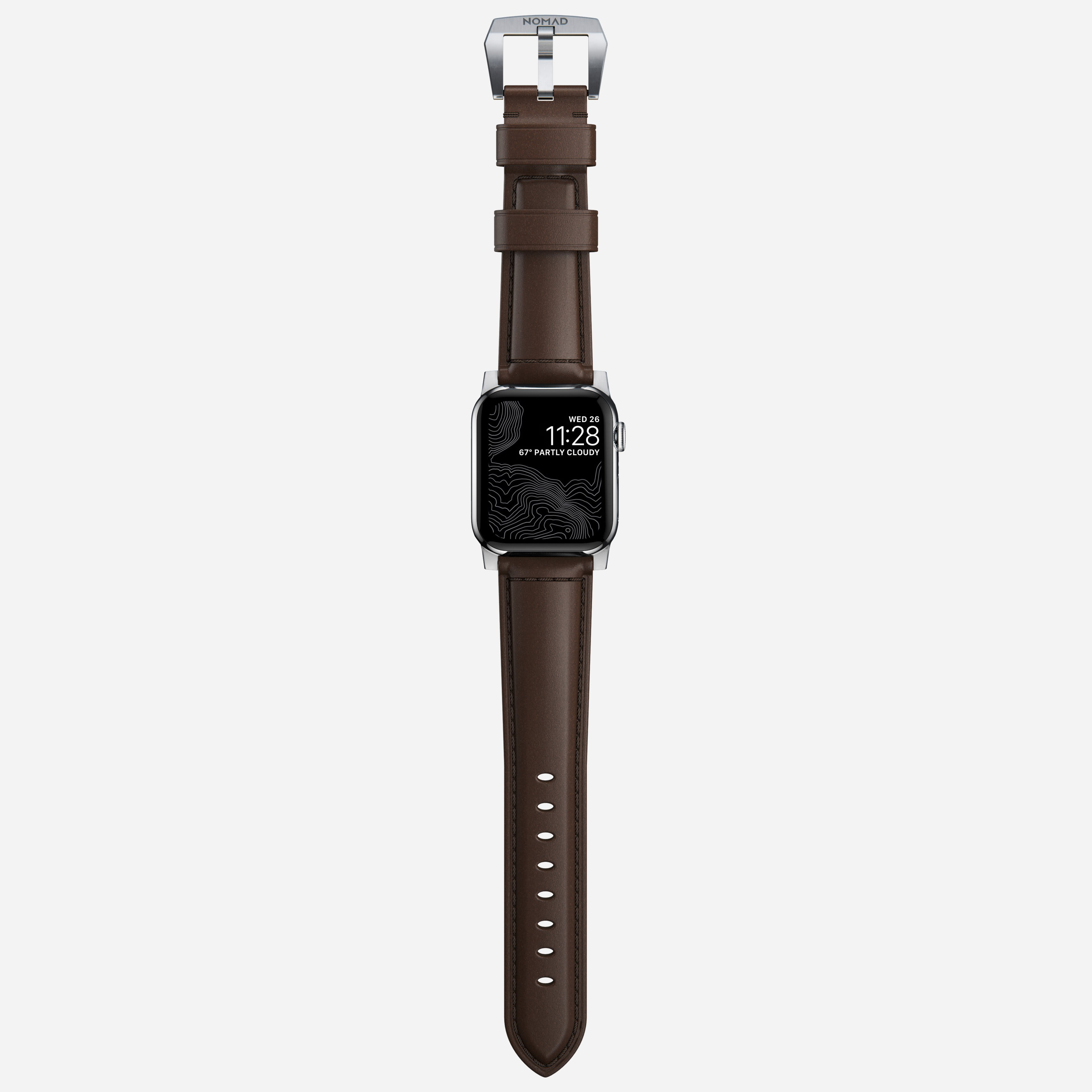 Traditional strap rustic brown silver hardware