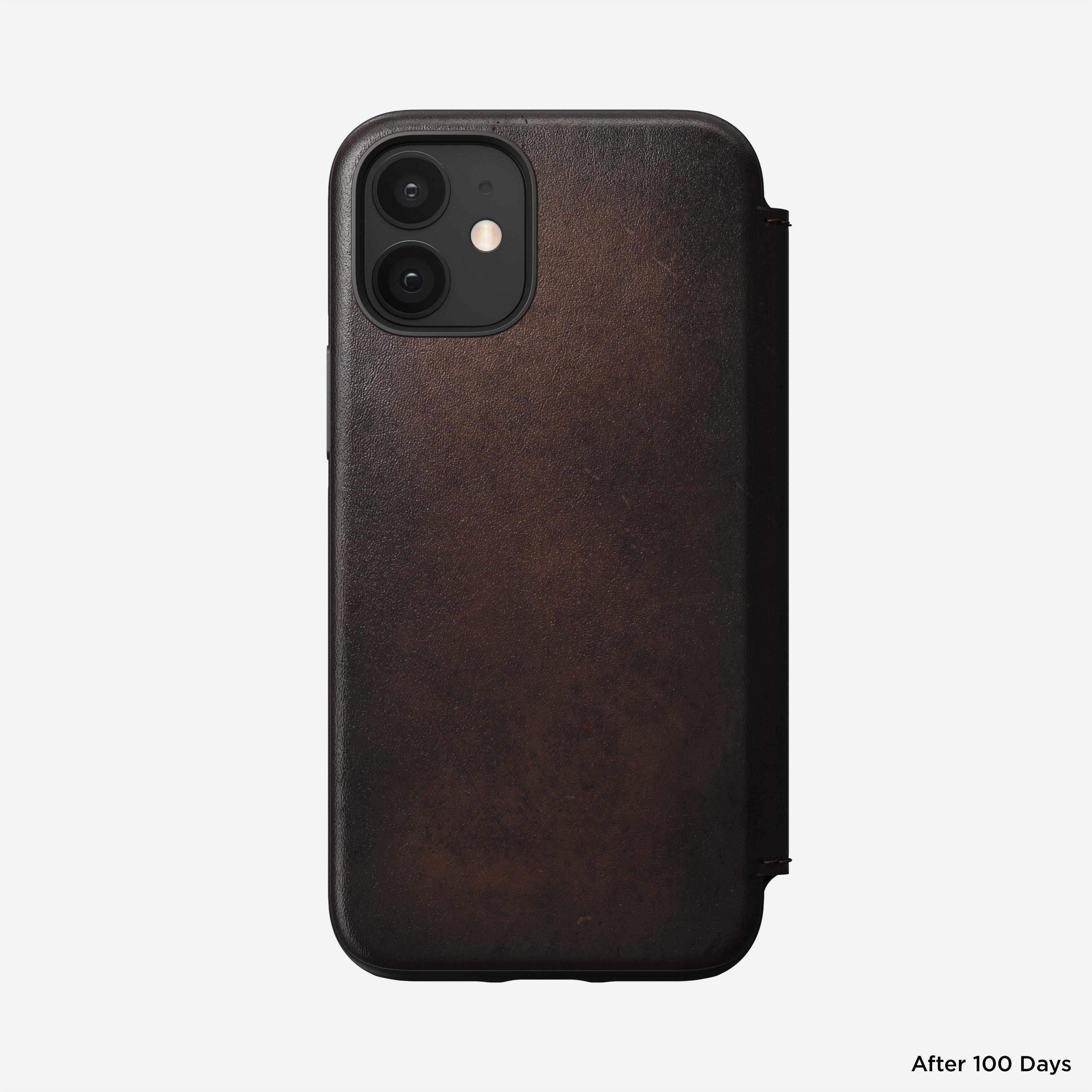 Rugged folio horween leather rustic brown iphone 12 mini