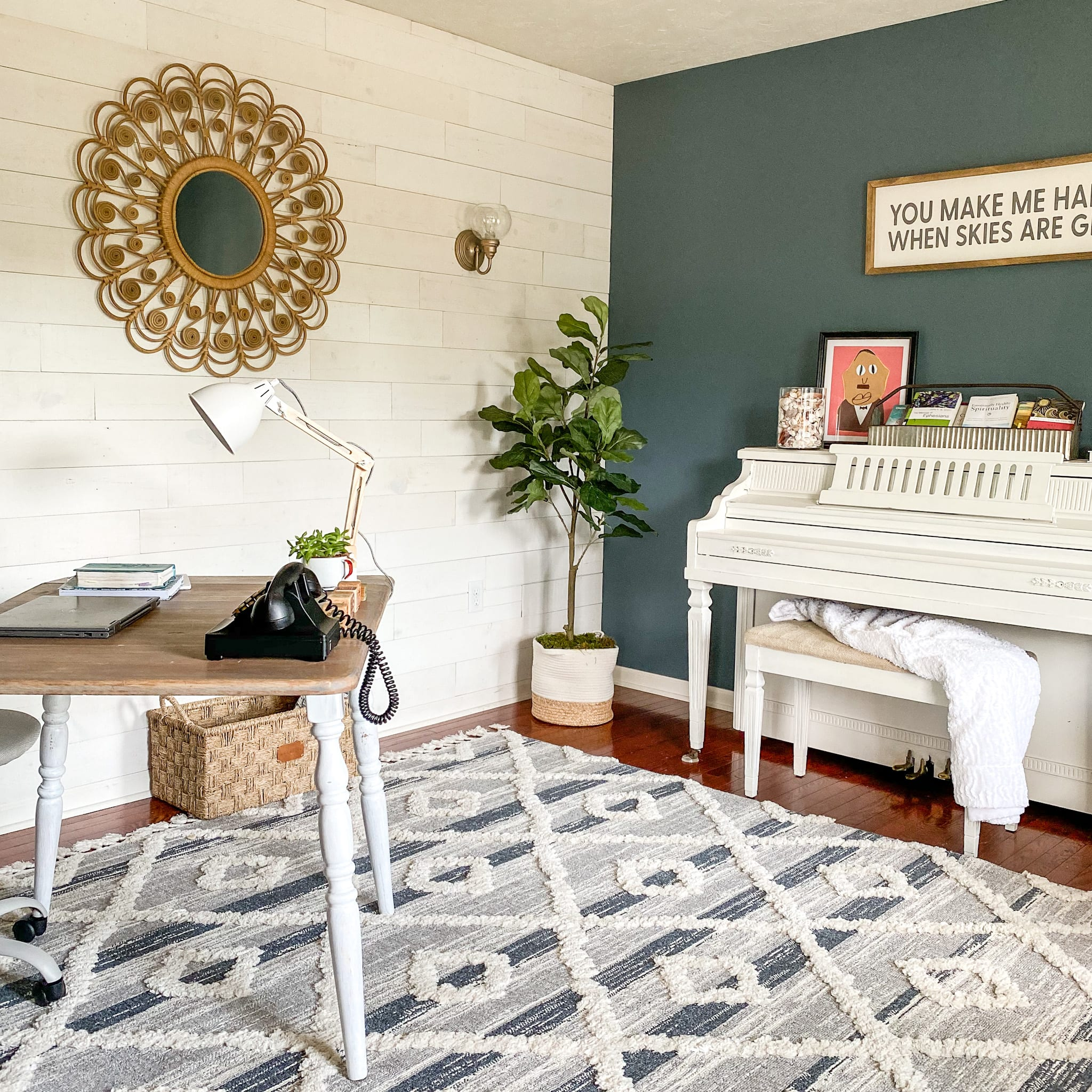 Classic living room with a peel and stick hamptons shiplap accent wall.