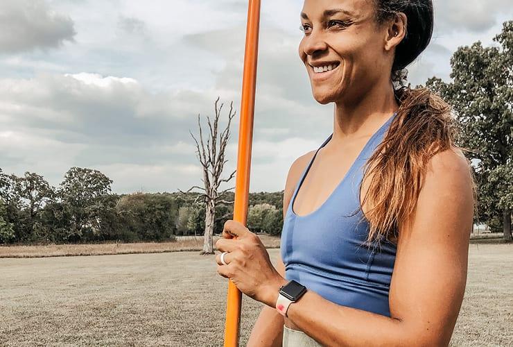 Chantae McMillan holding a javelin