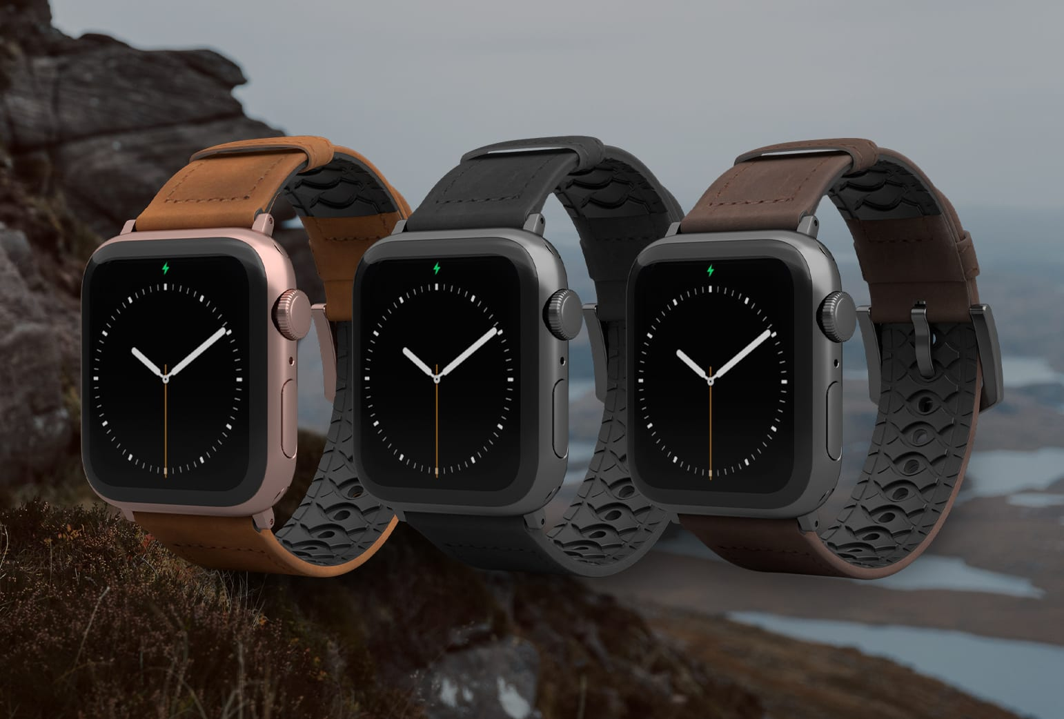 Leather breathable watch bands for the outdoors
