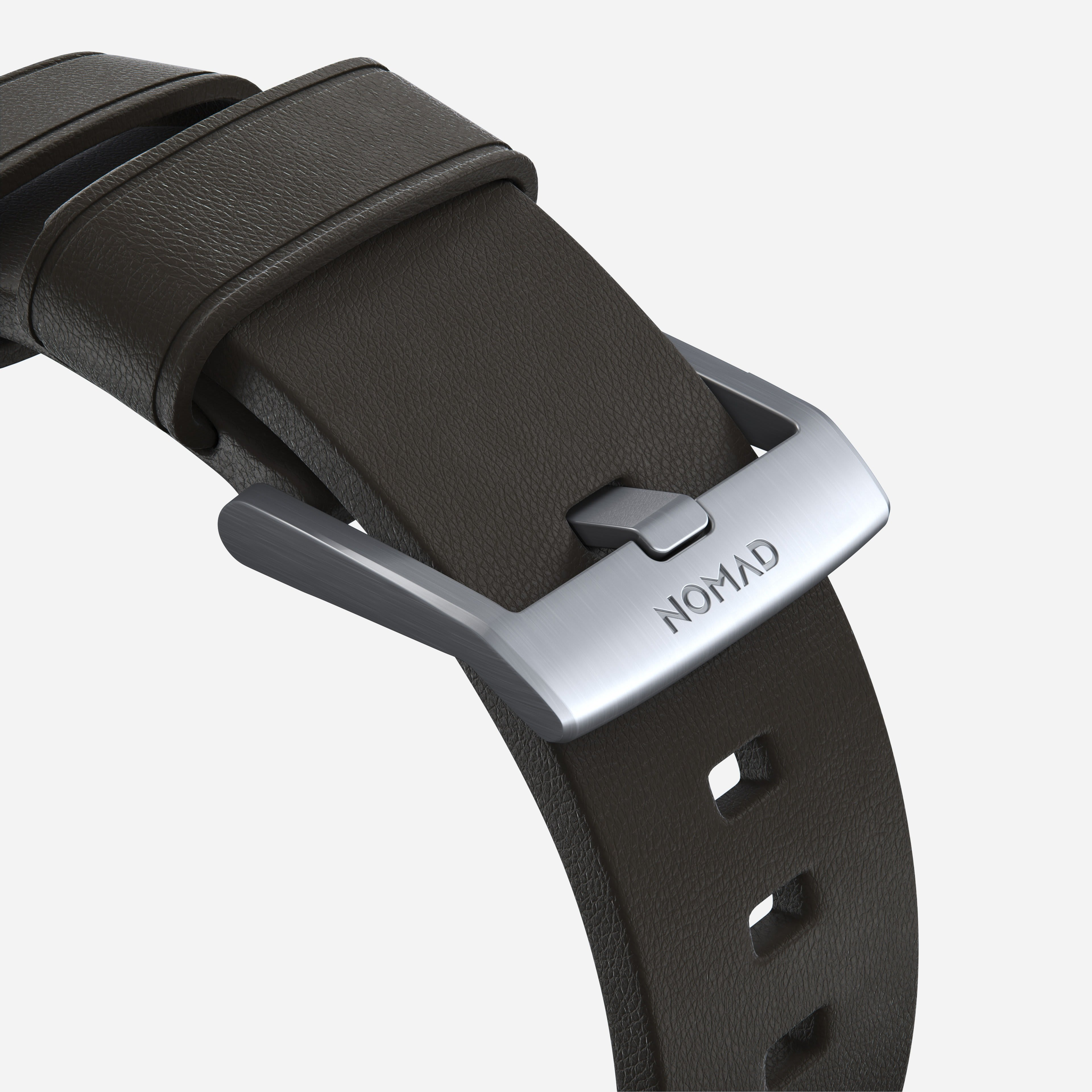 Active strap mocha leather silver hardware