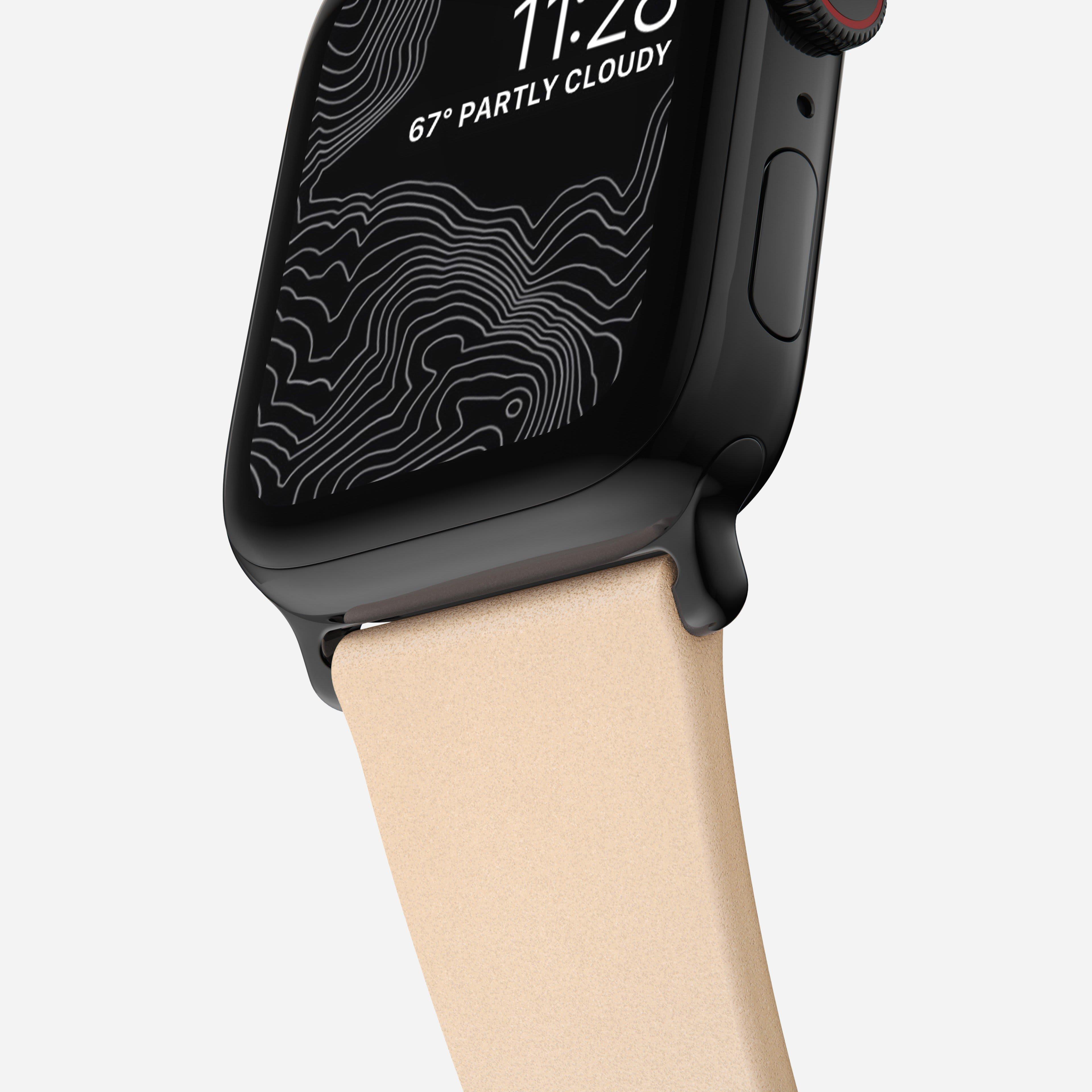 Modern slim strap horween leather natural black hardware