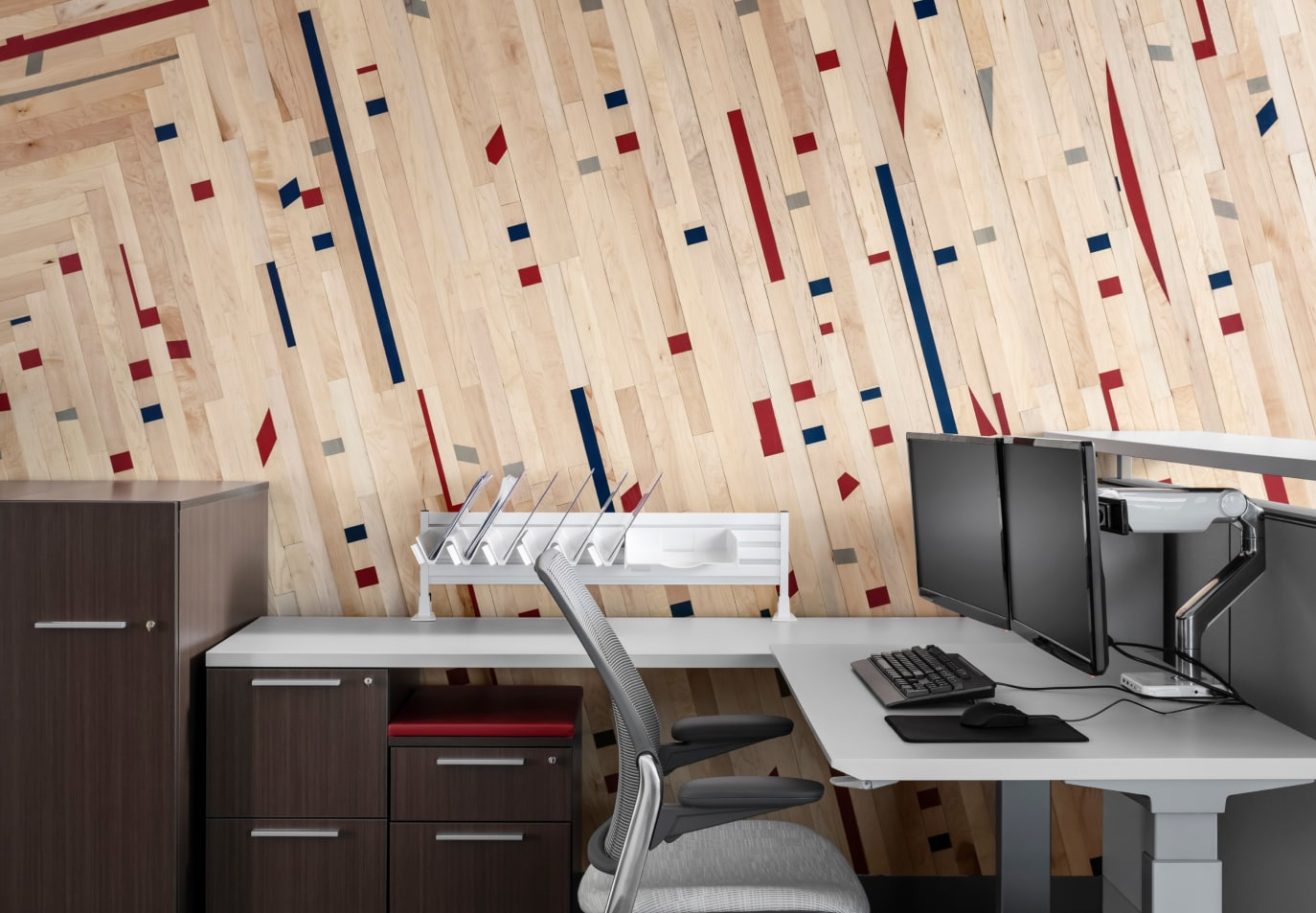 University of Arizona Athletic department office feature wall using Stikwood Fanwall peel and stick custom sports wall.