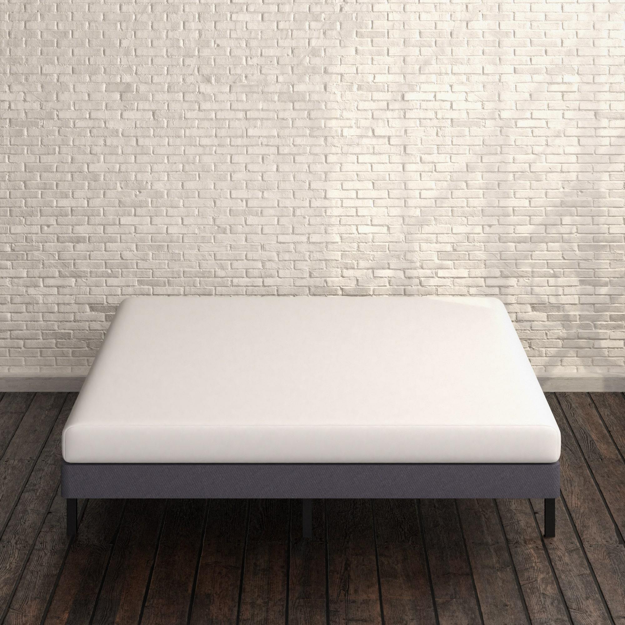 Upholstered Metal Box Spring with Wood Slats 4 inch