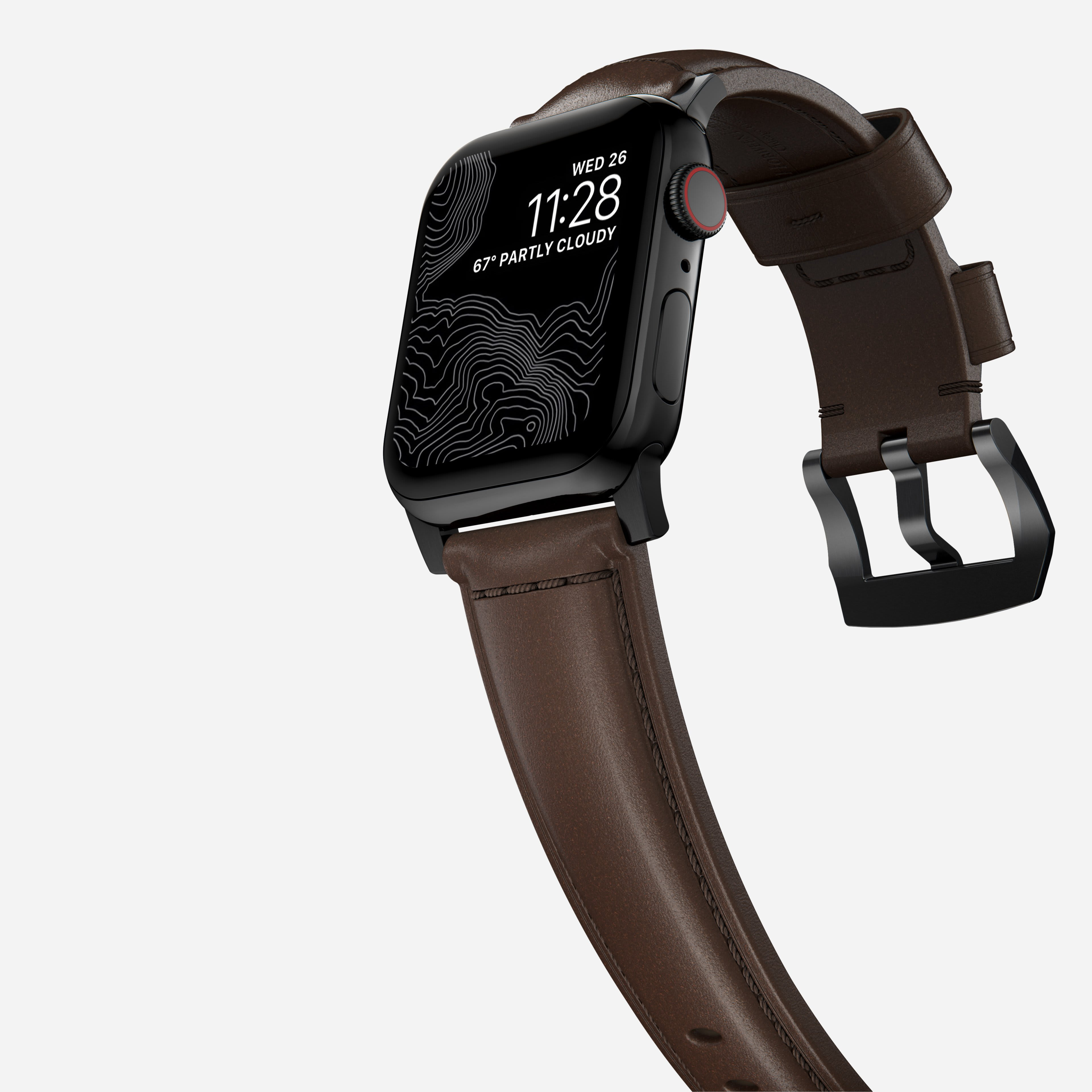 Traditional strap rustic brown black hardware
