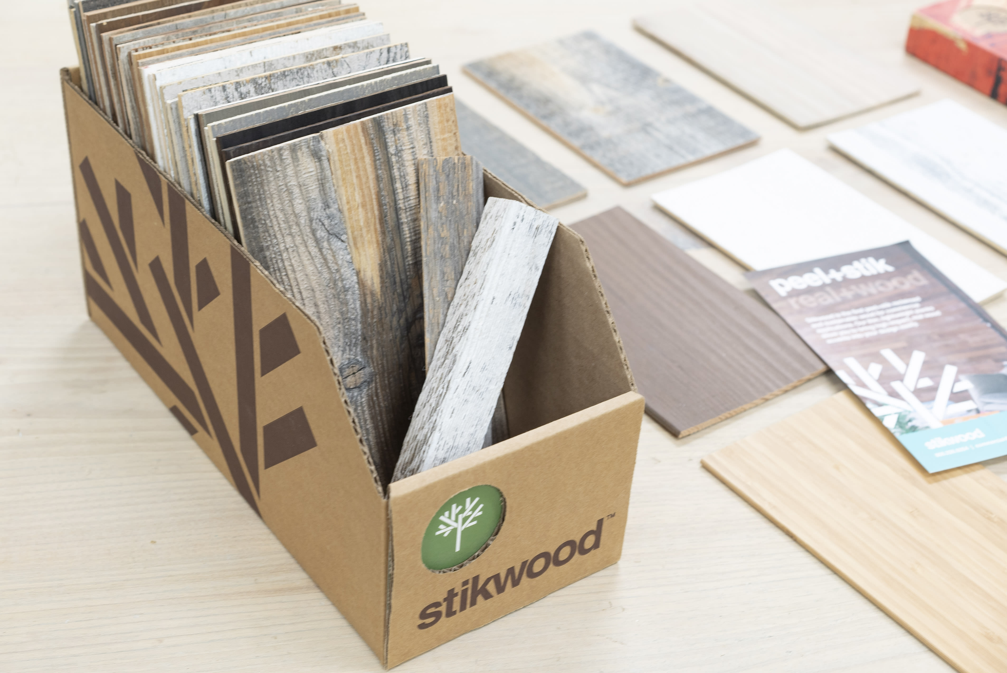 Stikwood peel and stick real wood wall and ceiling panels architect and designer sample kit.