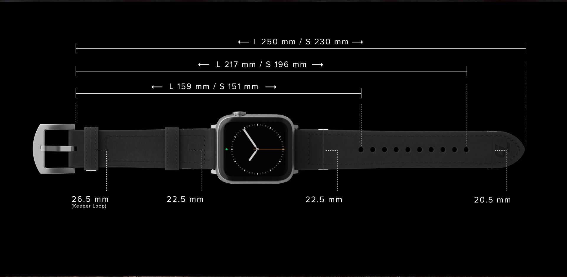 Measurements and dimensions of Vulcan Leather Watch Bands