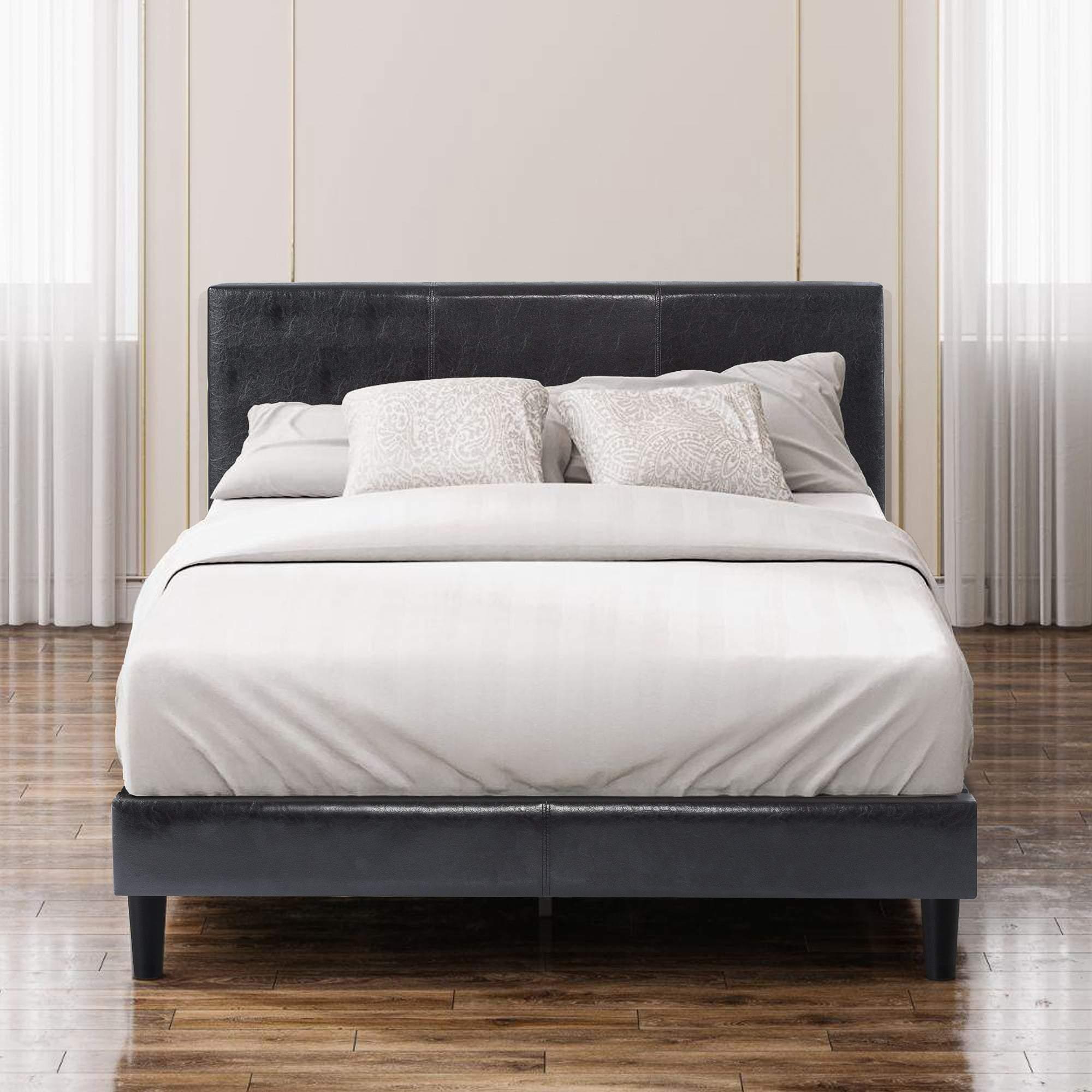 Jade Faux Leather Upholstered Platform Bed Frame with Short Headboard Black