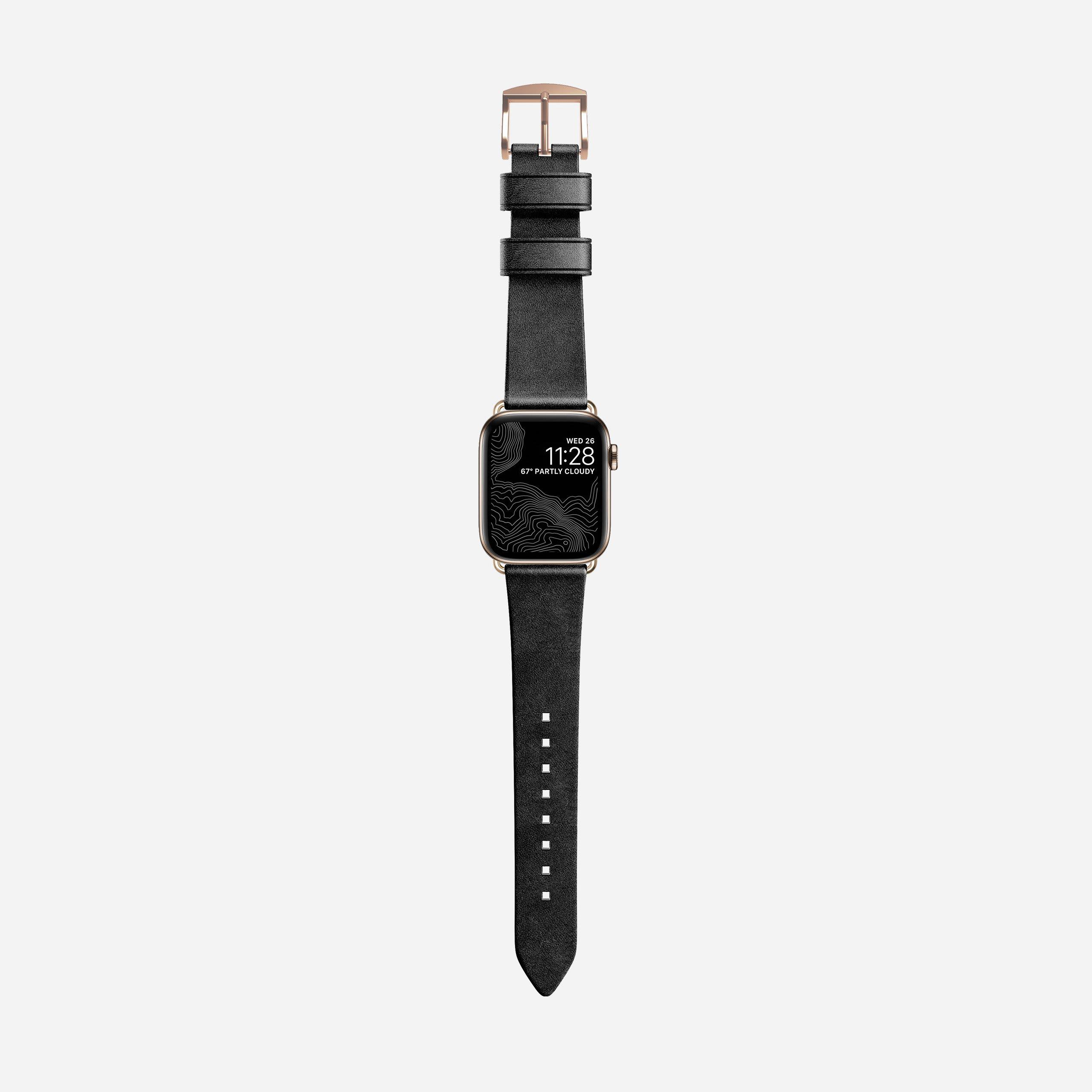Modern slim strap black leather gold hardware