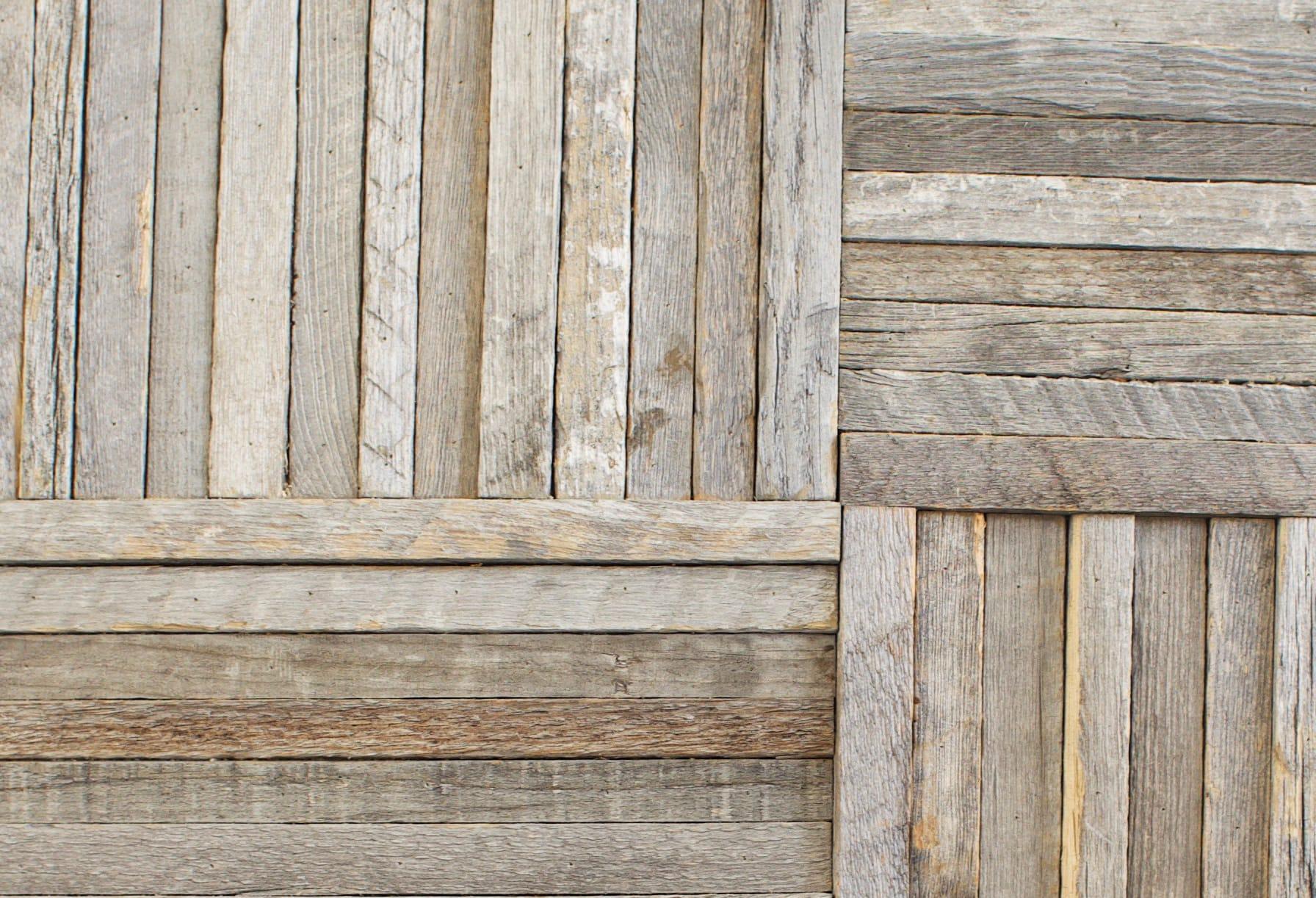 Closeup detail of Stikwood reclaimed wood wall art panels.