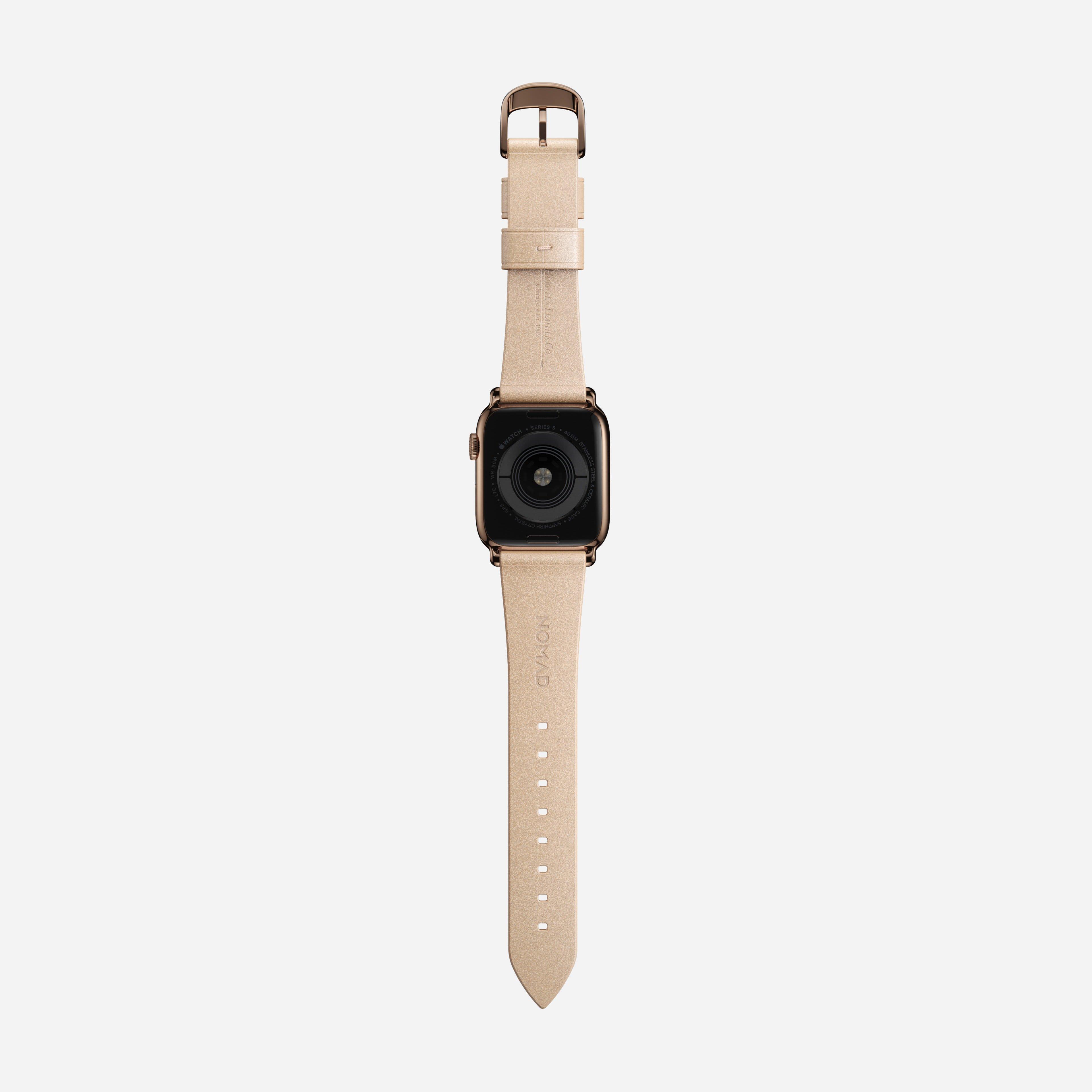 Modern slim strap horween leather natural gold hardware