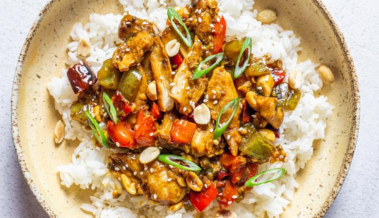 freshly steamed white rice and kung pao vegan chicken
