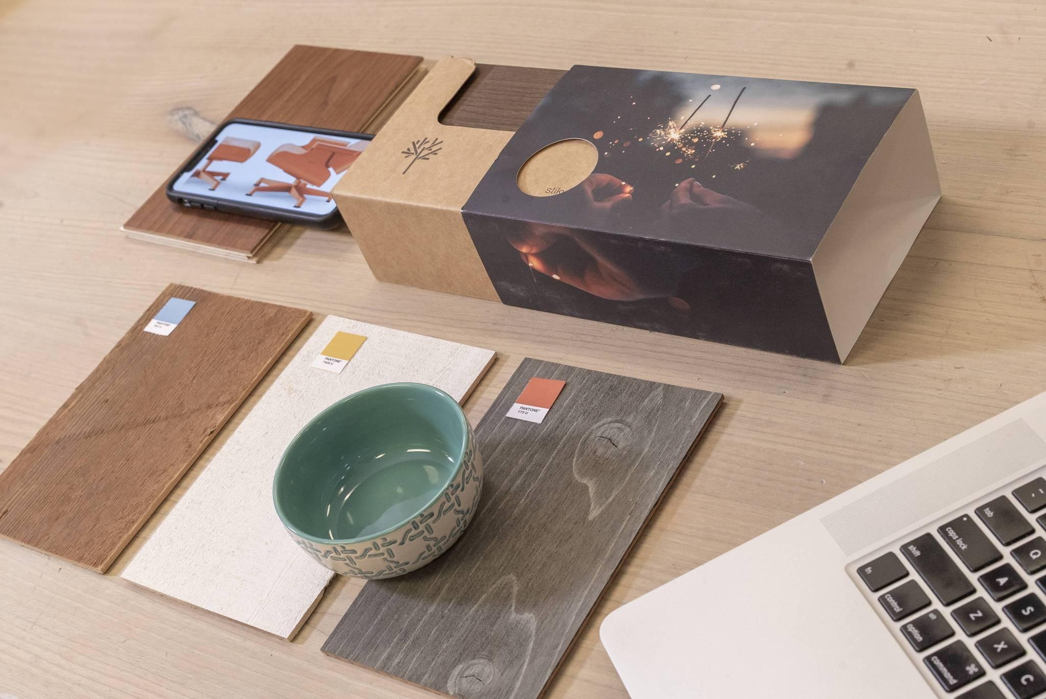 Design palette using stikwood and other design elements.