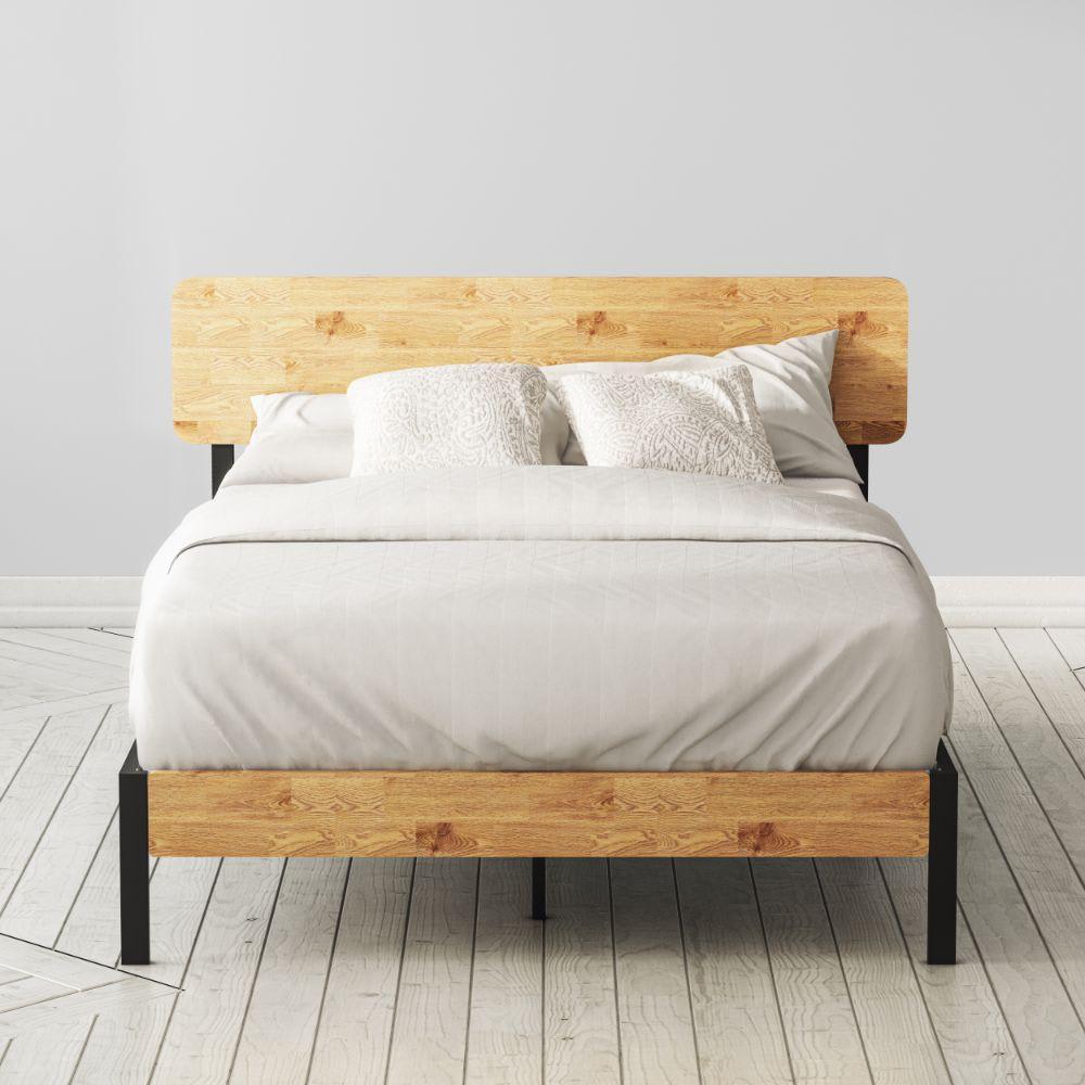 olivia metal and wood platform bed frame