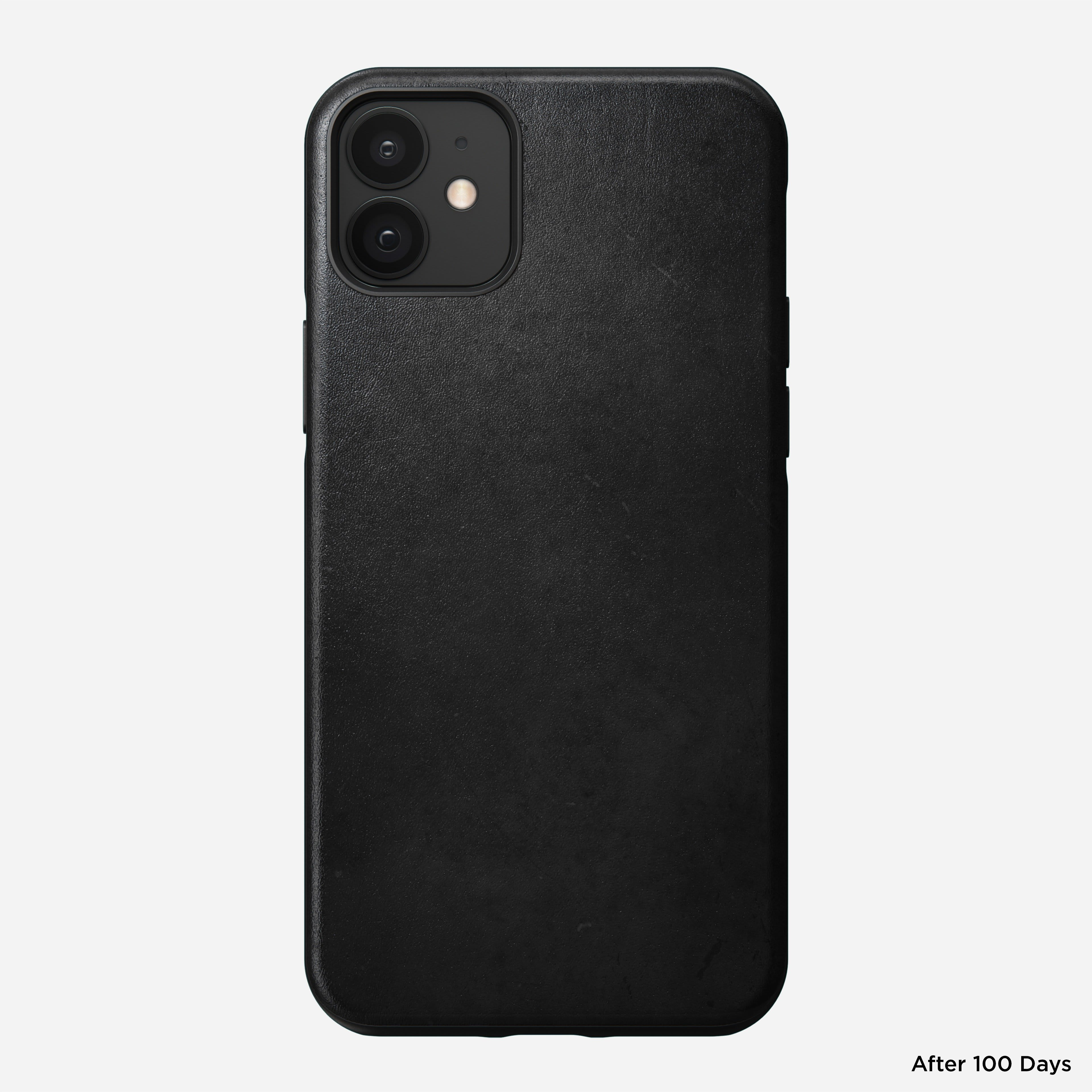 Rugged case horween leather black iphone 12