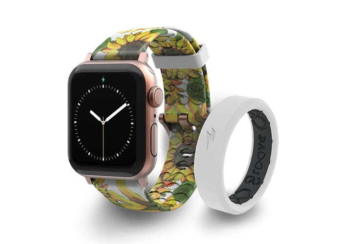 Groove Apple Watch Band in Sunflower Design and white thin Zeus ring