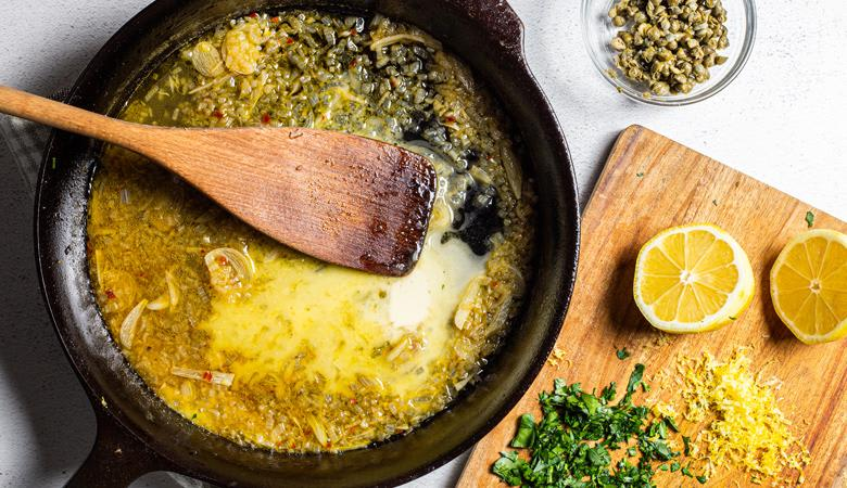 Butter sauce in skillet