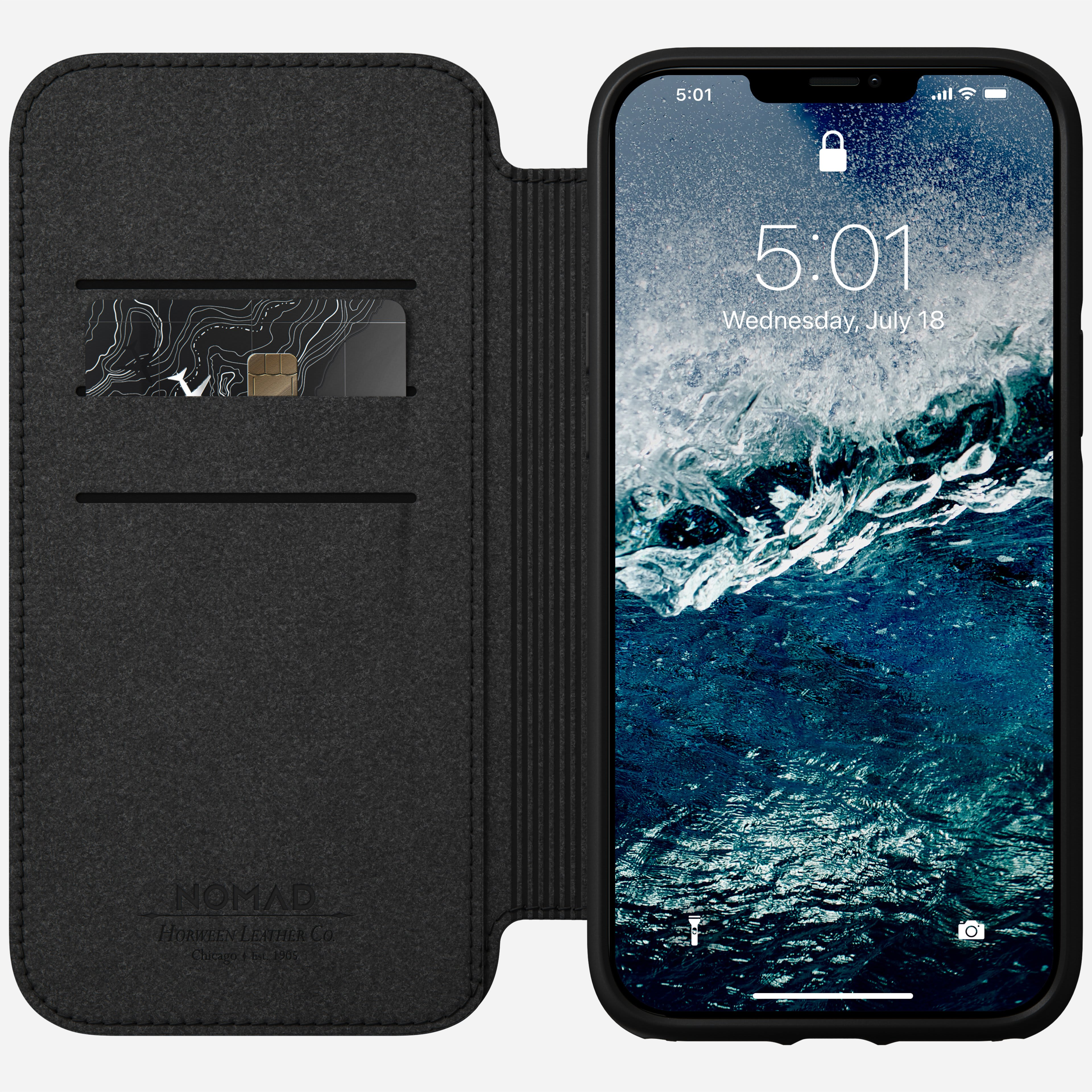 Rugged folio magsafe horween leather black iphone 12 pro max