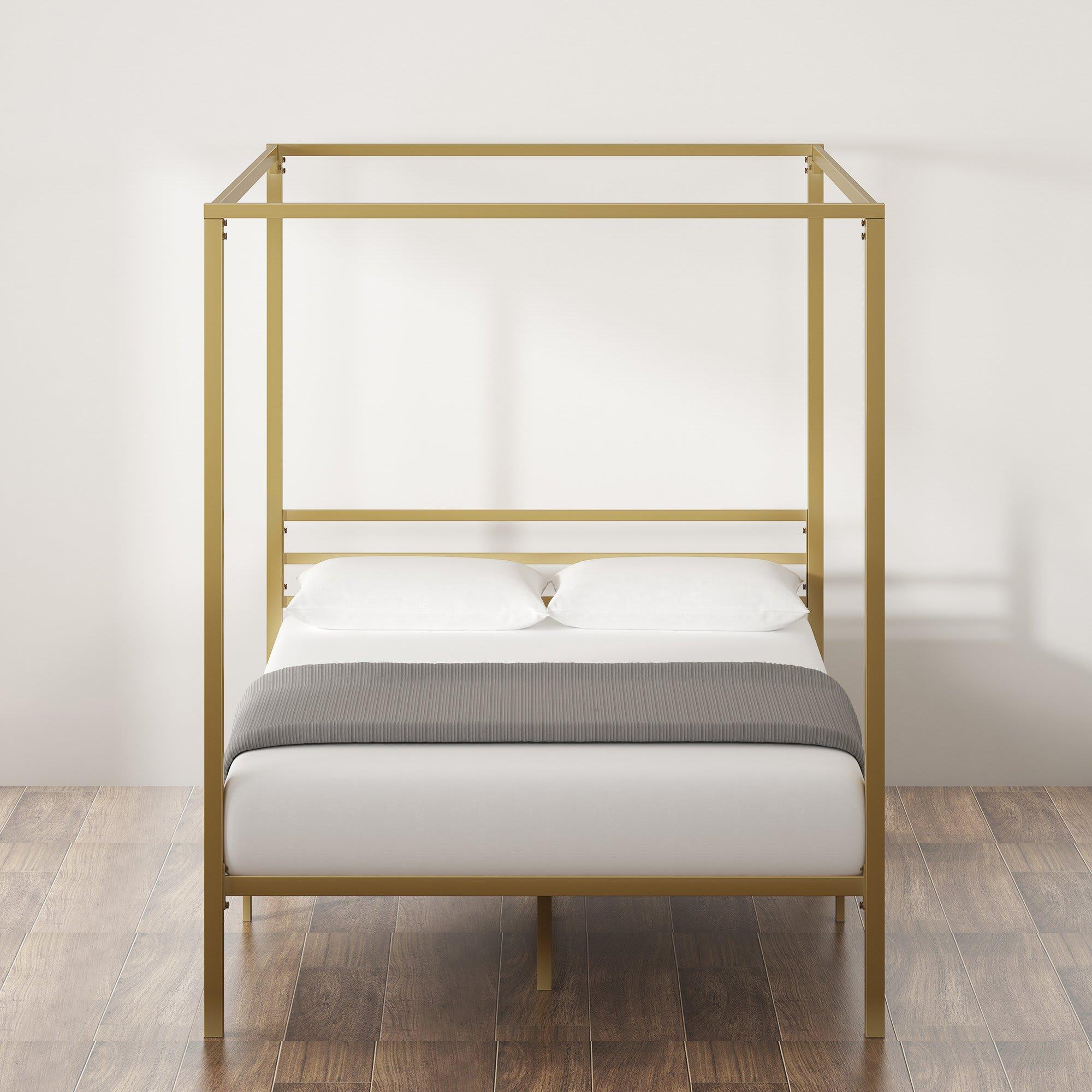 Patricia Gold Metal Canopy Platform Bed Frame