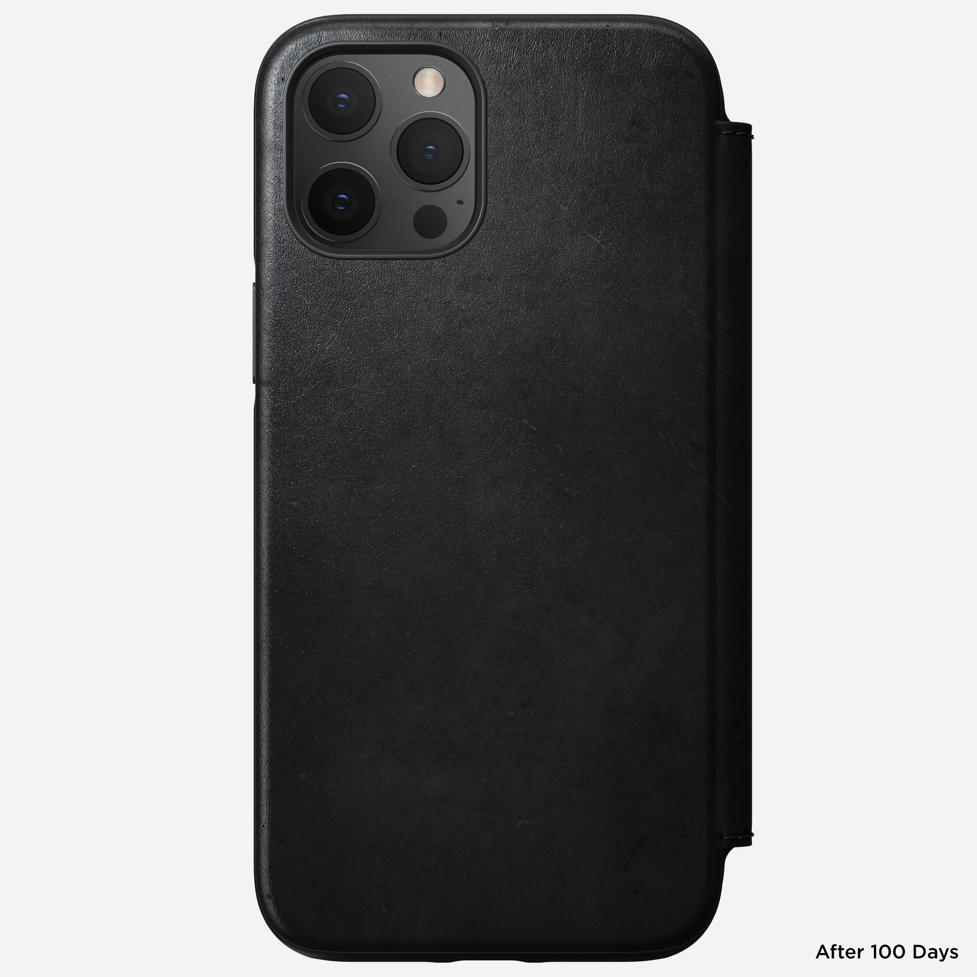 Rugged folio horween leather black iphone 12 pro max