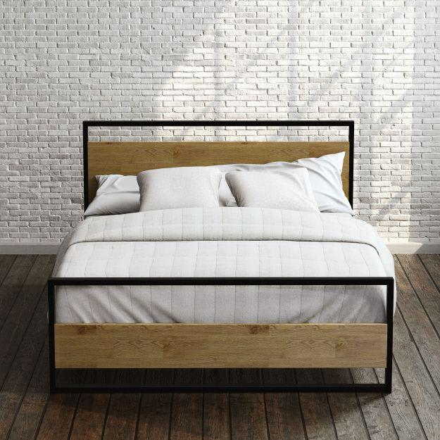 Suzanne Metal and Wood Platform Bed Frame with Footboard