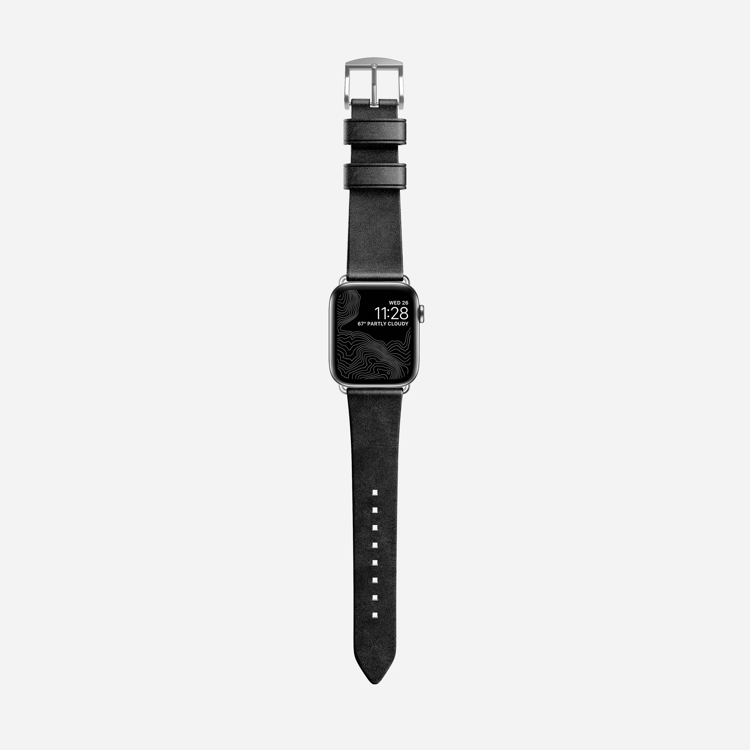 Modern slim strap black leather silver hardware