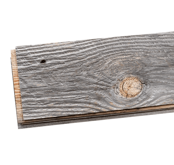 Stack of real reclaimed peel and stick wood wall and ceiling planks showing detail of the real wood with knots and nail holes.