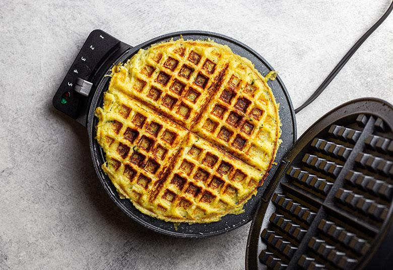 vegan waffle in waffle iron