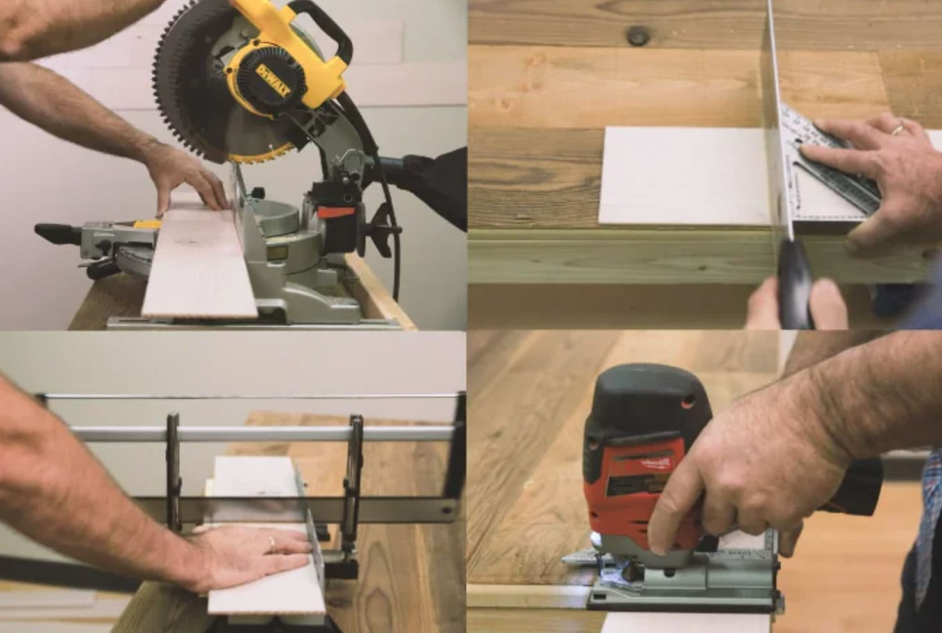 Group of images showing a electric miter saw cutting Stikwood planks.