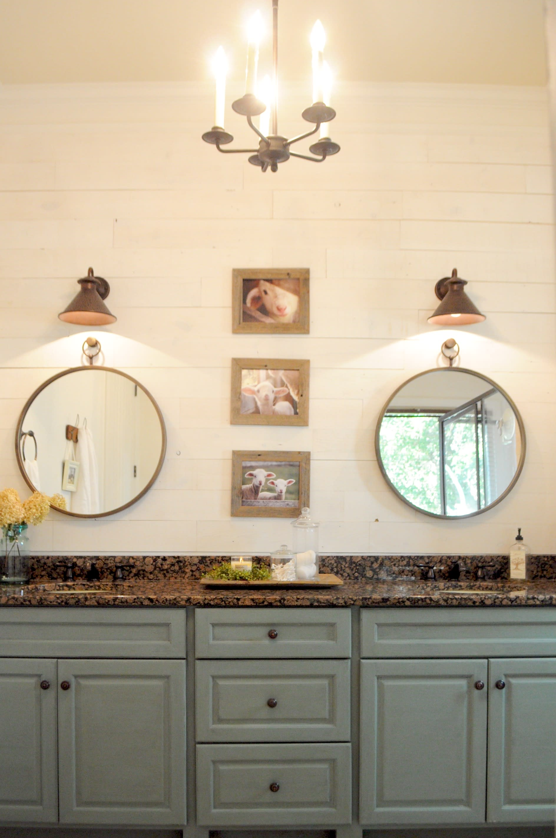 Modern farmhouse bathroom vanity with two sinks and mirrors and an accent wall made from Hamptons shiplap peel and stik reclaimed wood.