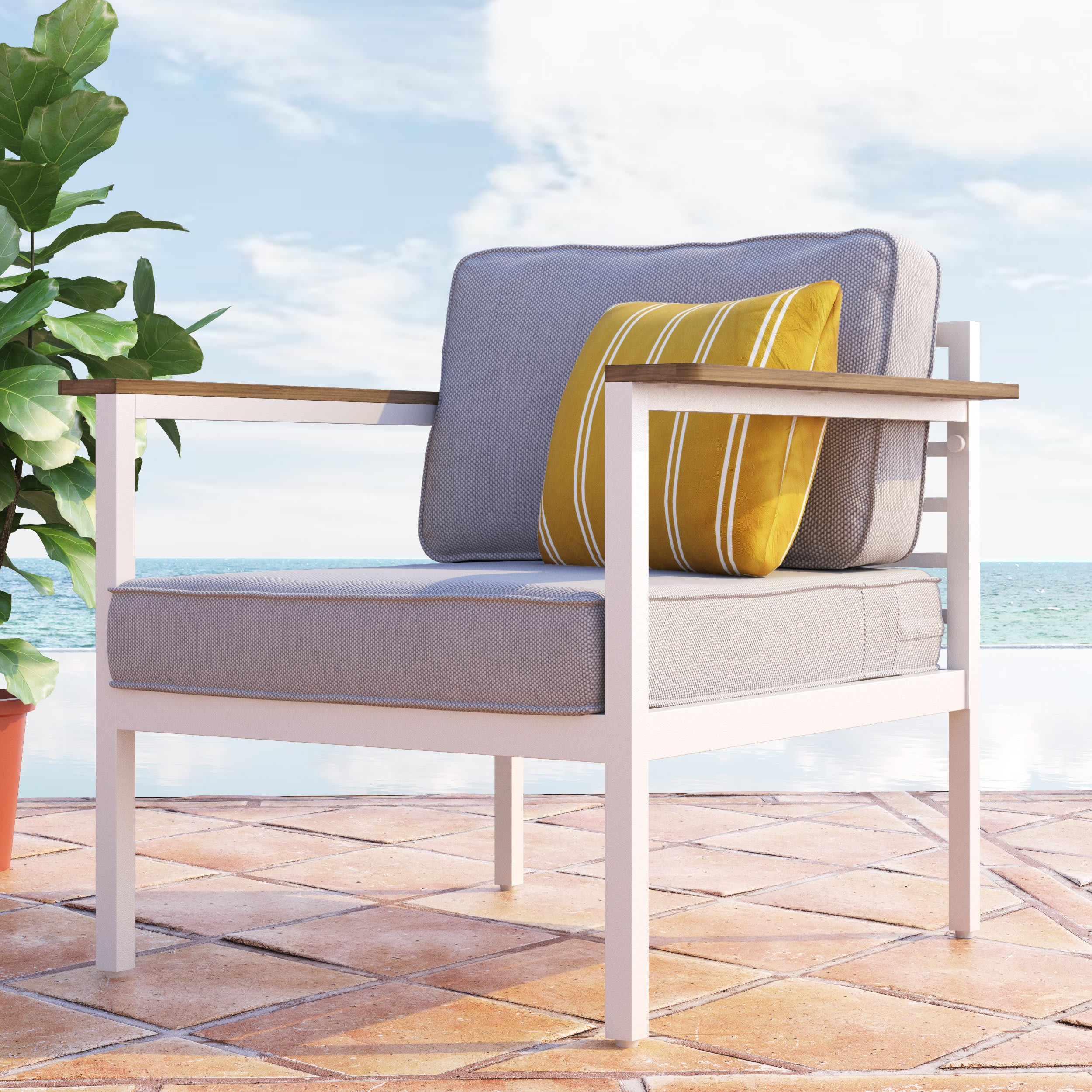 Pablo Aluminum and Acacia Wood Outdoor Armchair