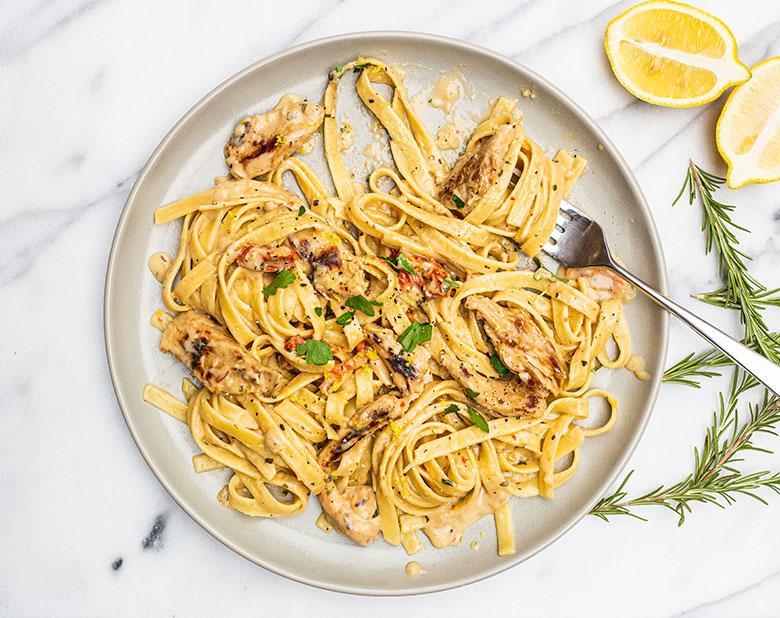 Daring Plant Based Chicken Vegan Fettucine on plate