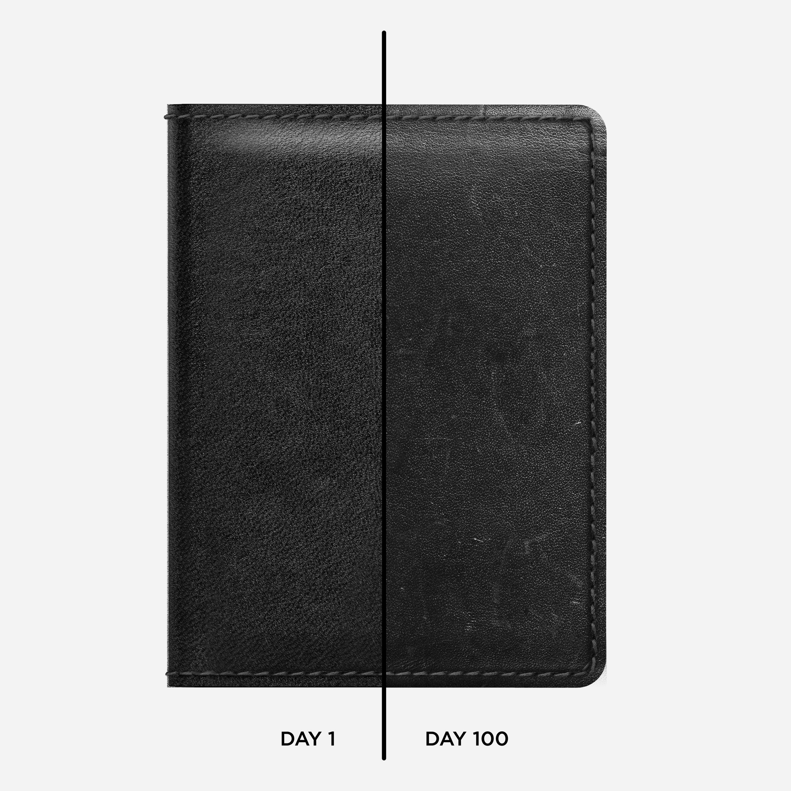Bi-Fold Leather Wallet Black Horween Leather