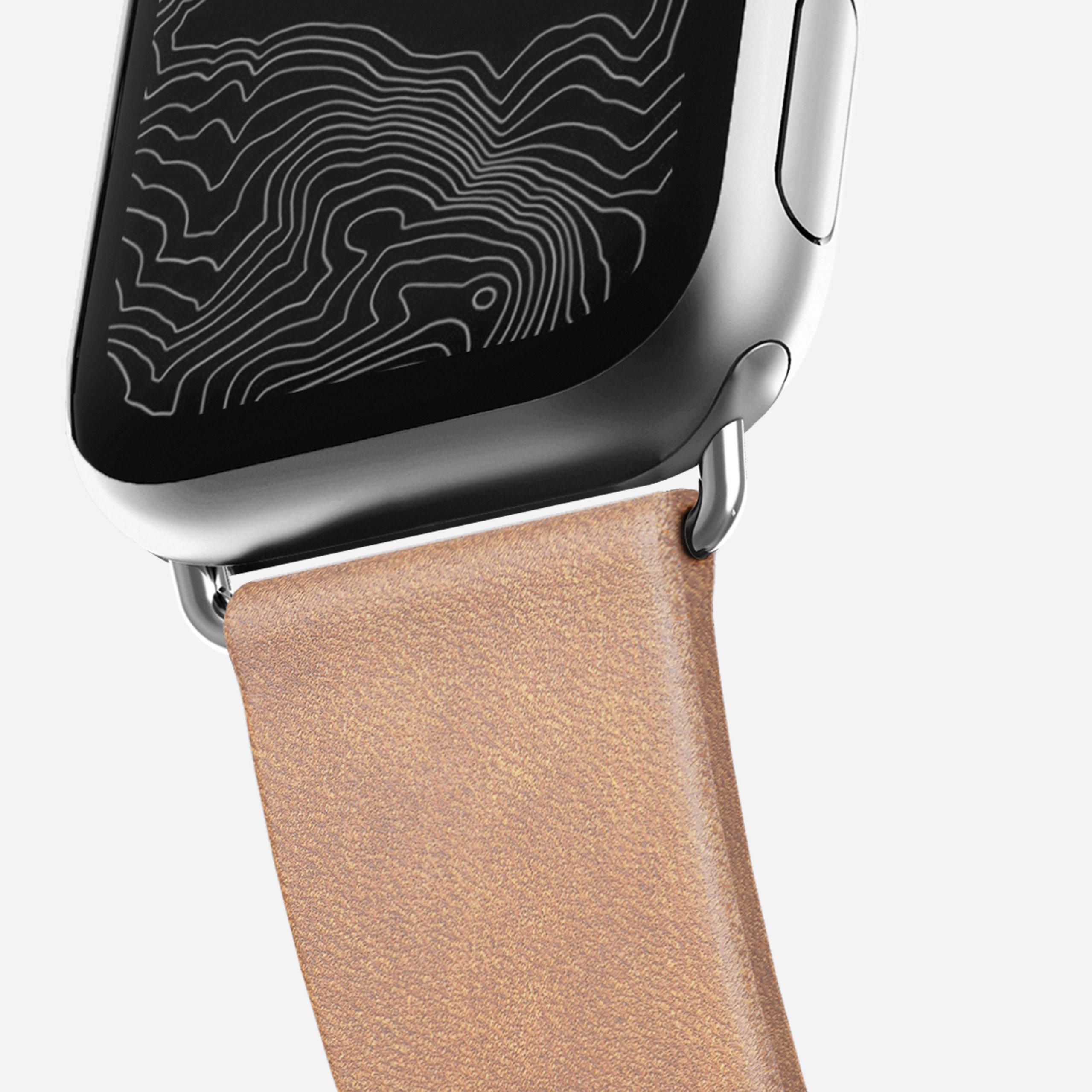 Modern slim strap natural leather silver hardware