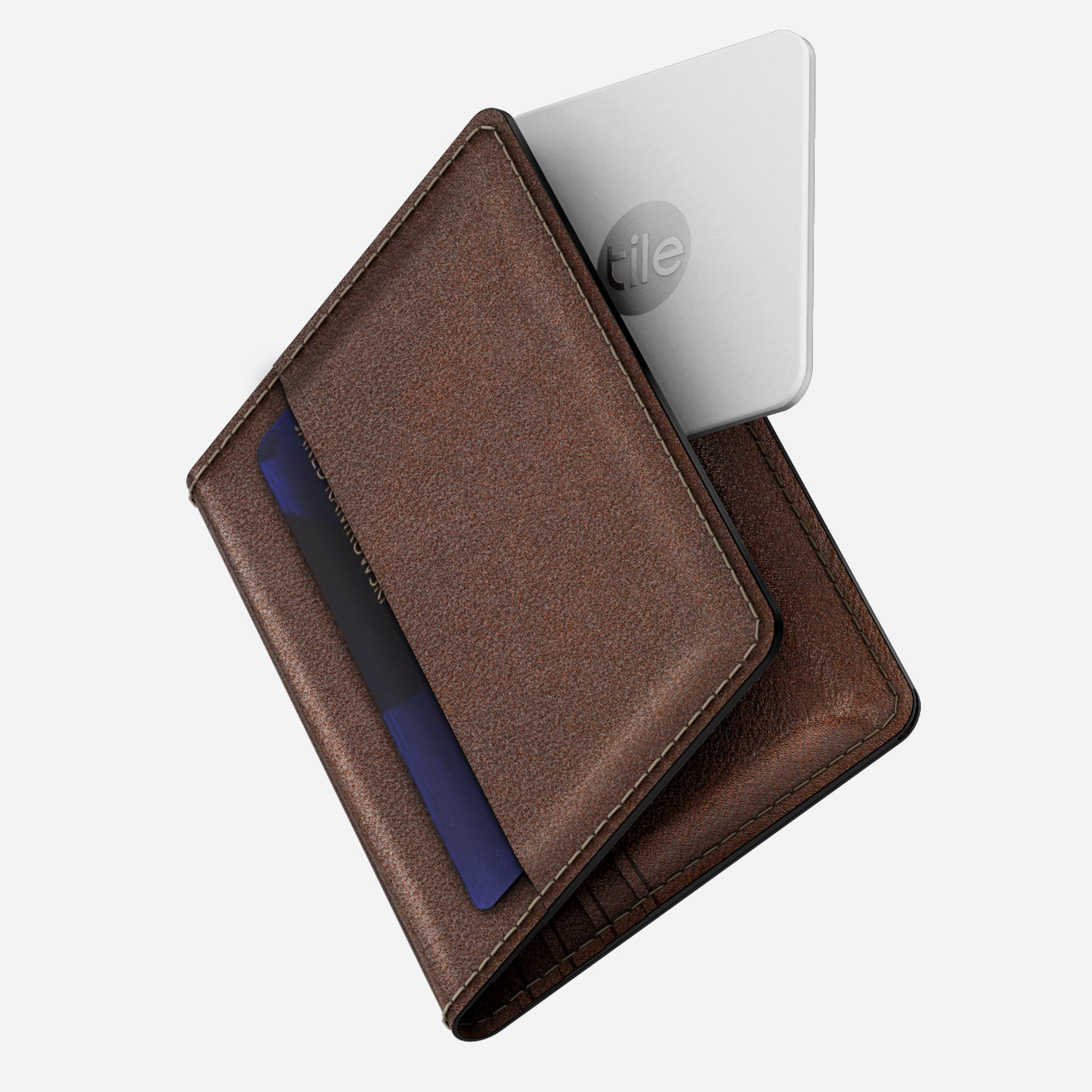 Slim Wallet with Tile Tracking Rustic Brown Horween Leather