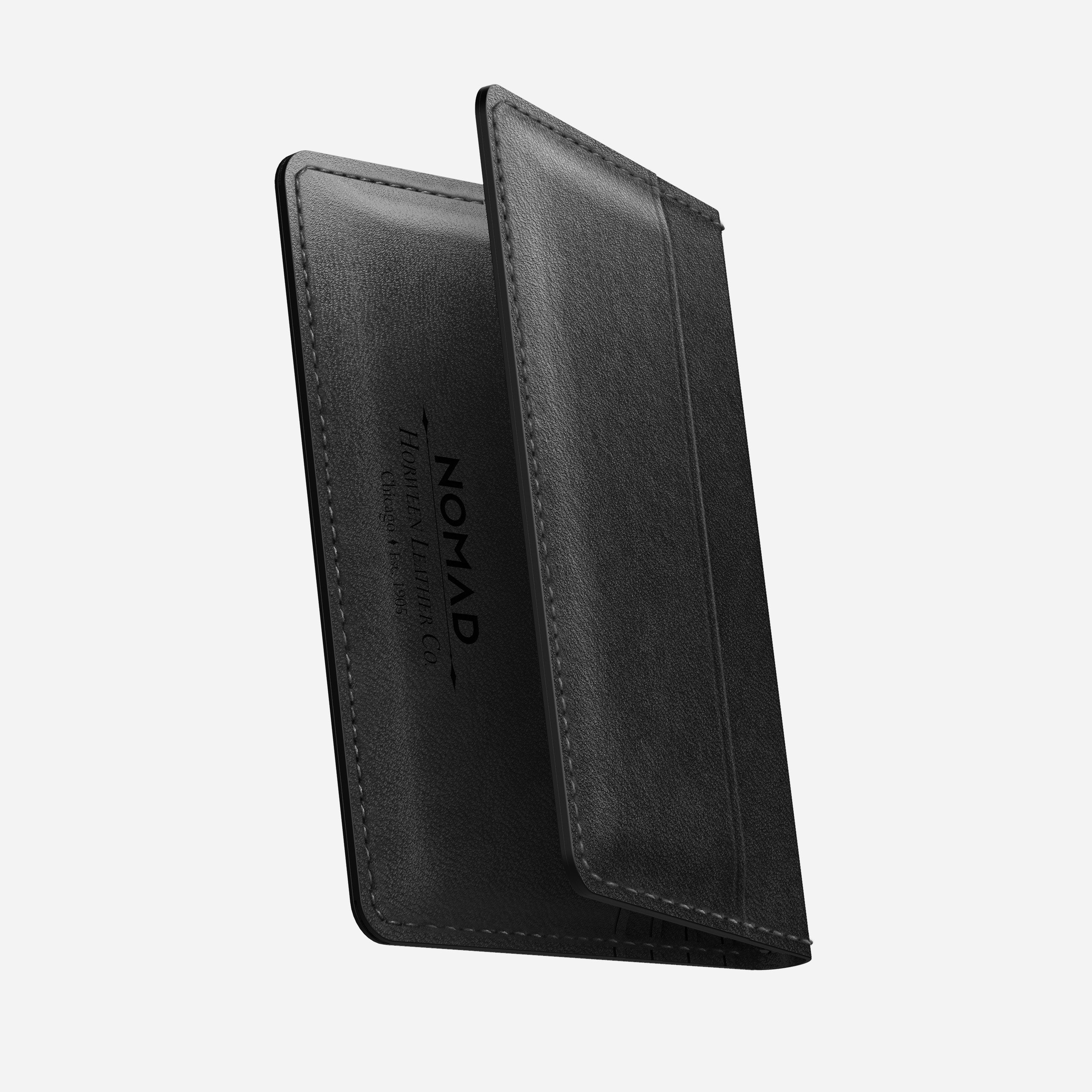 Slim Wallet with Tile Tracking Black Horween Leather
