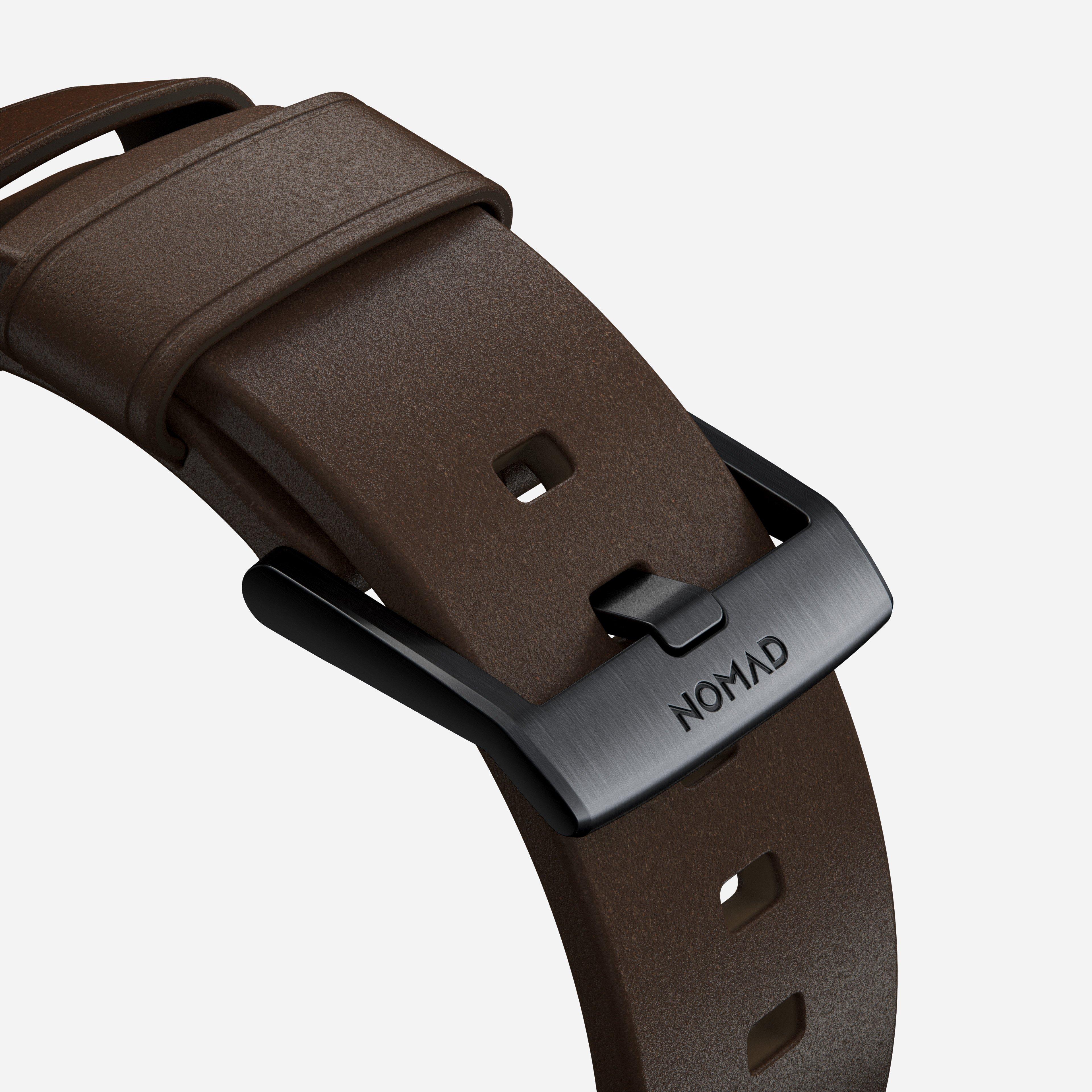 Modern strap rustic brown black hardware 40mm