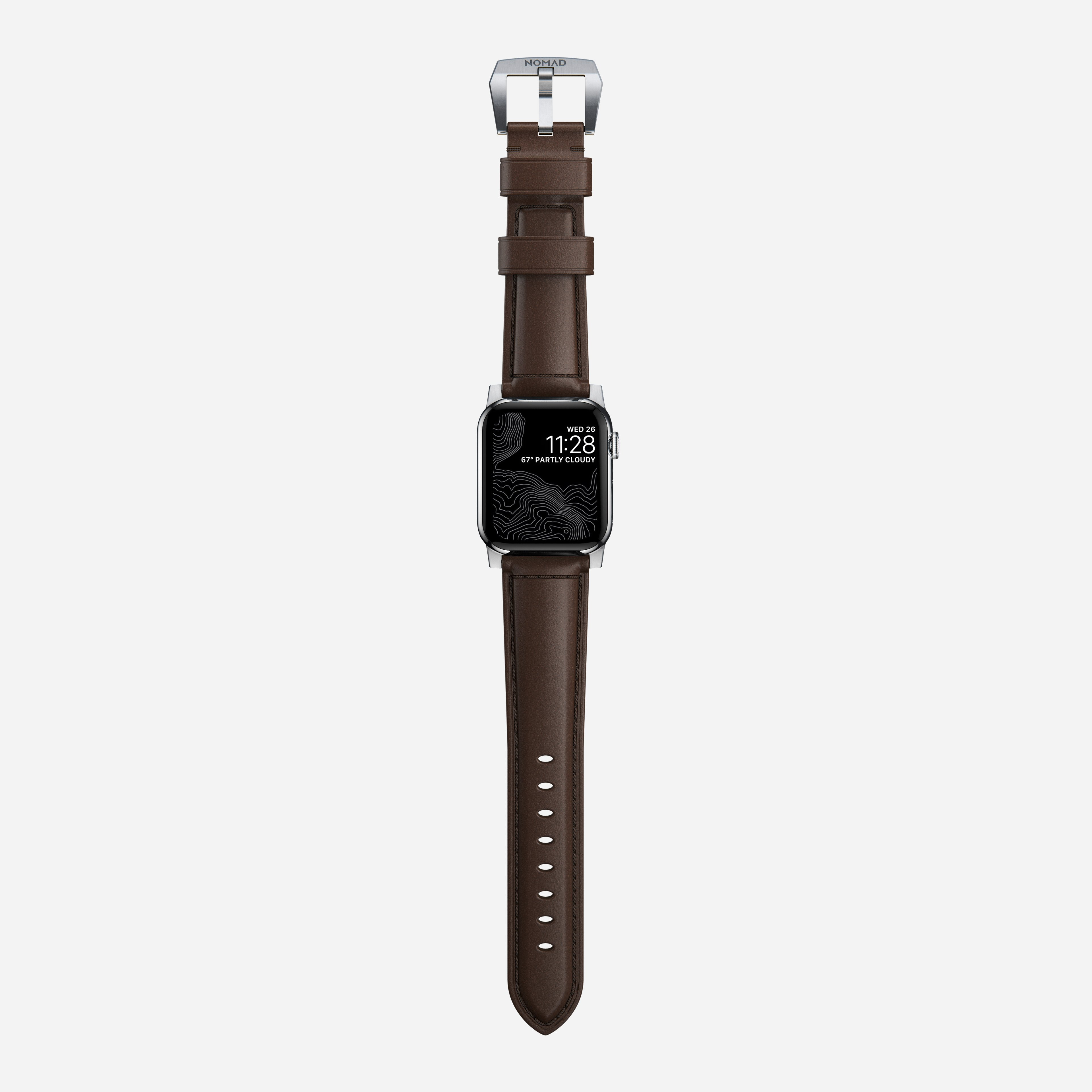 Traditional strap rustic brown silver hardware 40mm