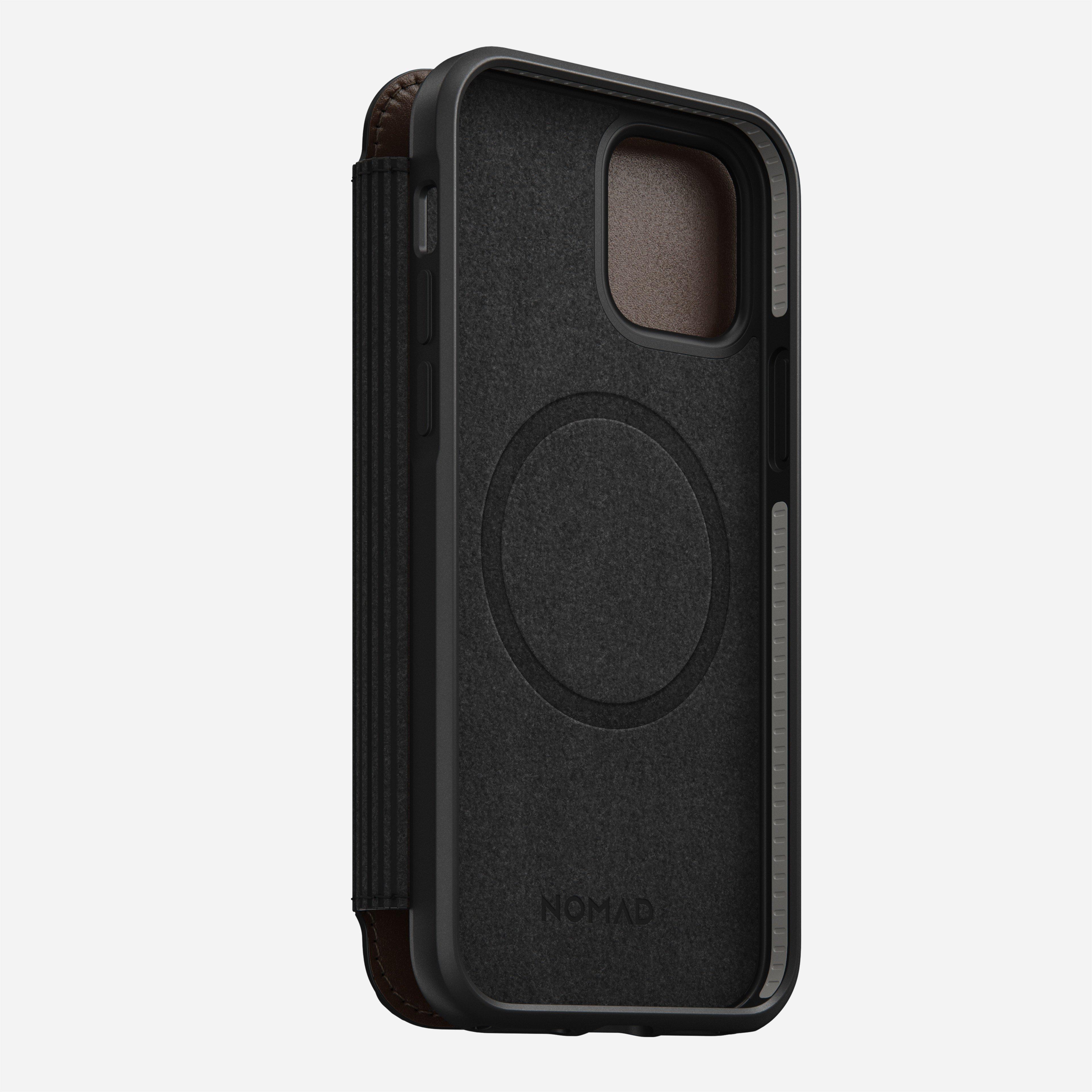 Rugged folio magsafe horween leather black iphone 12 pro