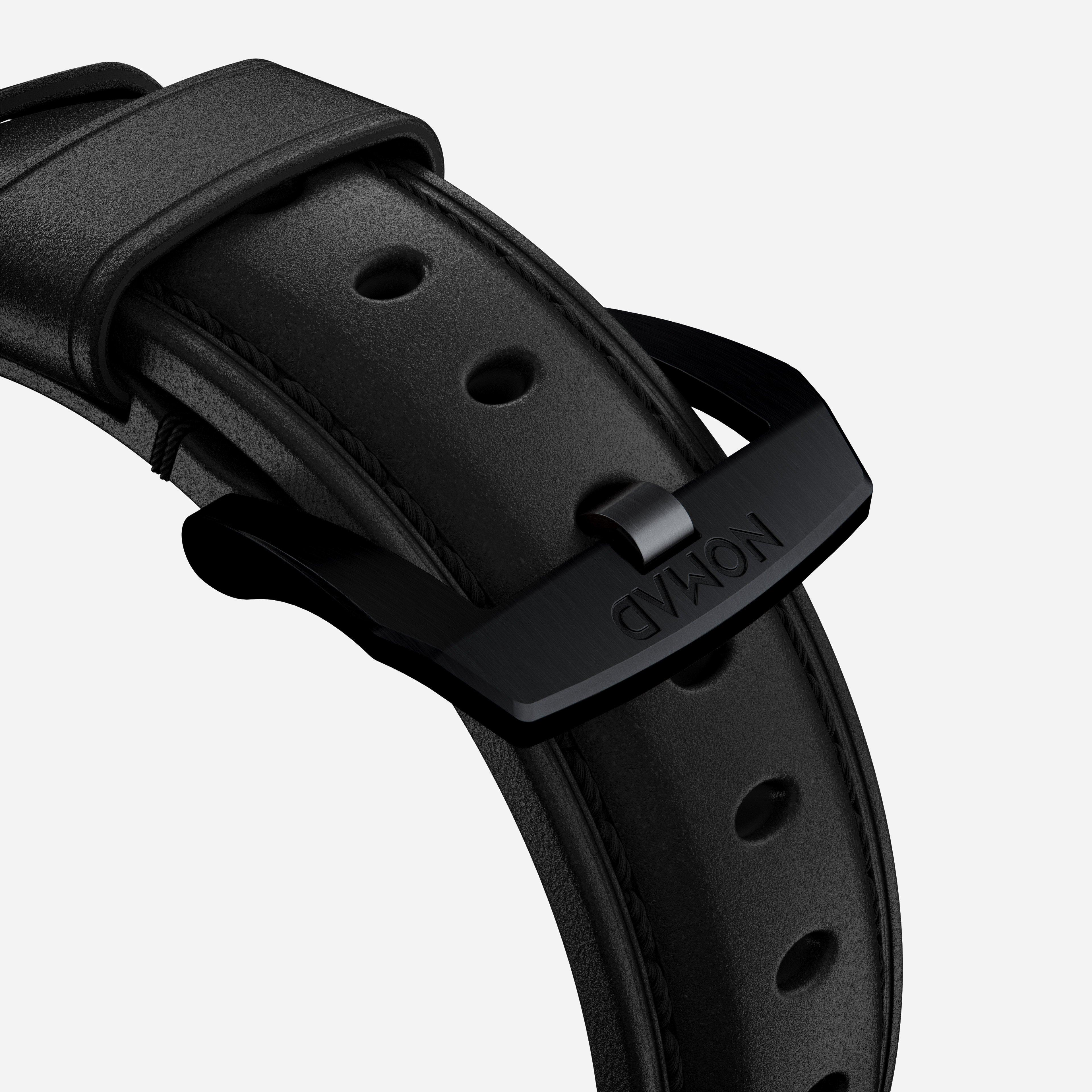 Traditional strap black leather black hardware