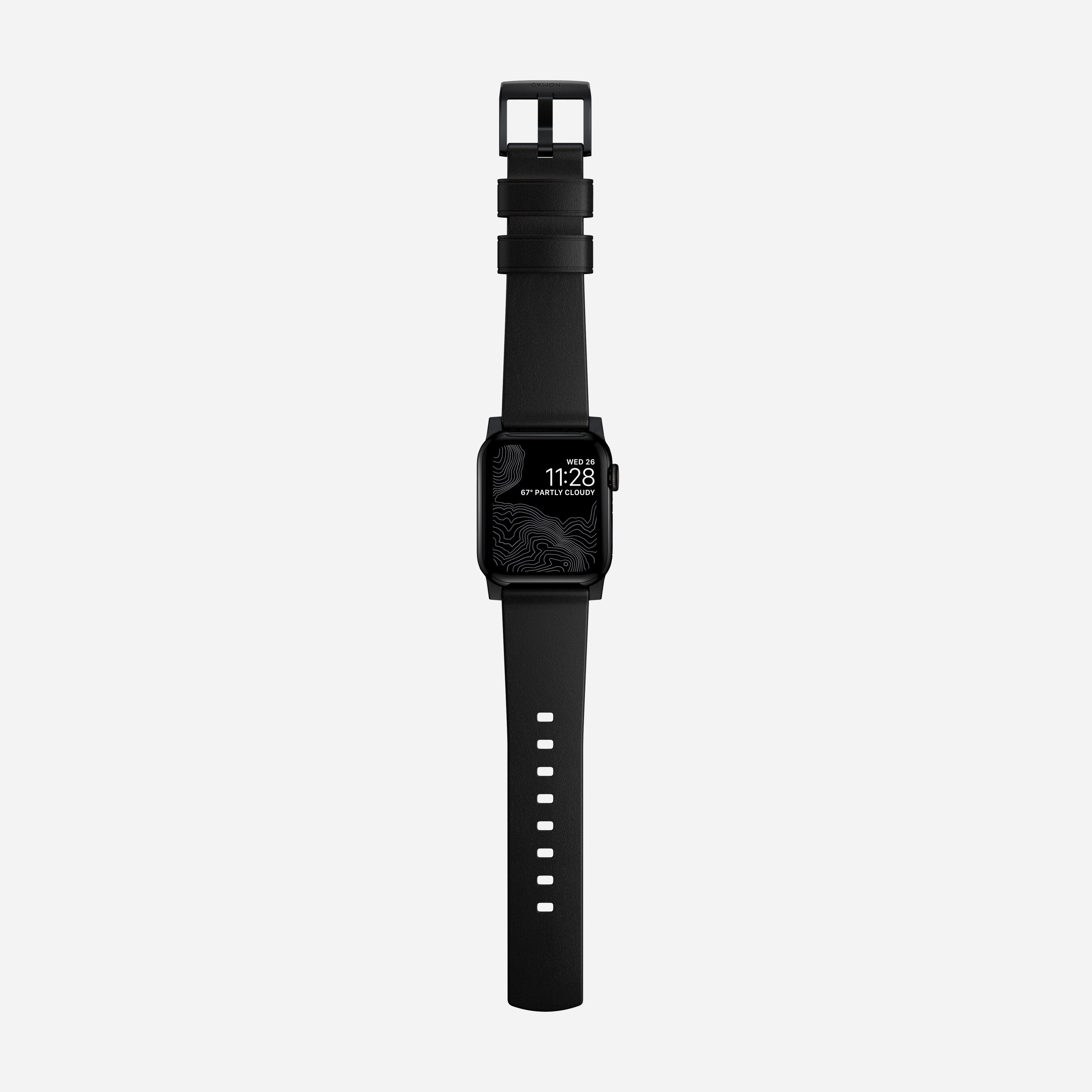 Modern strap black leather black hardware 40mm